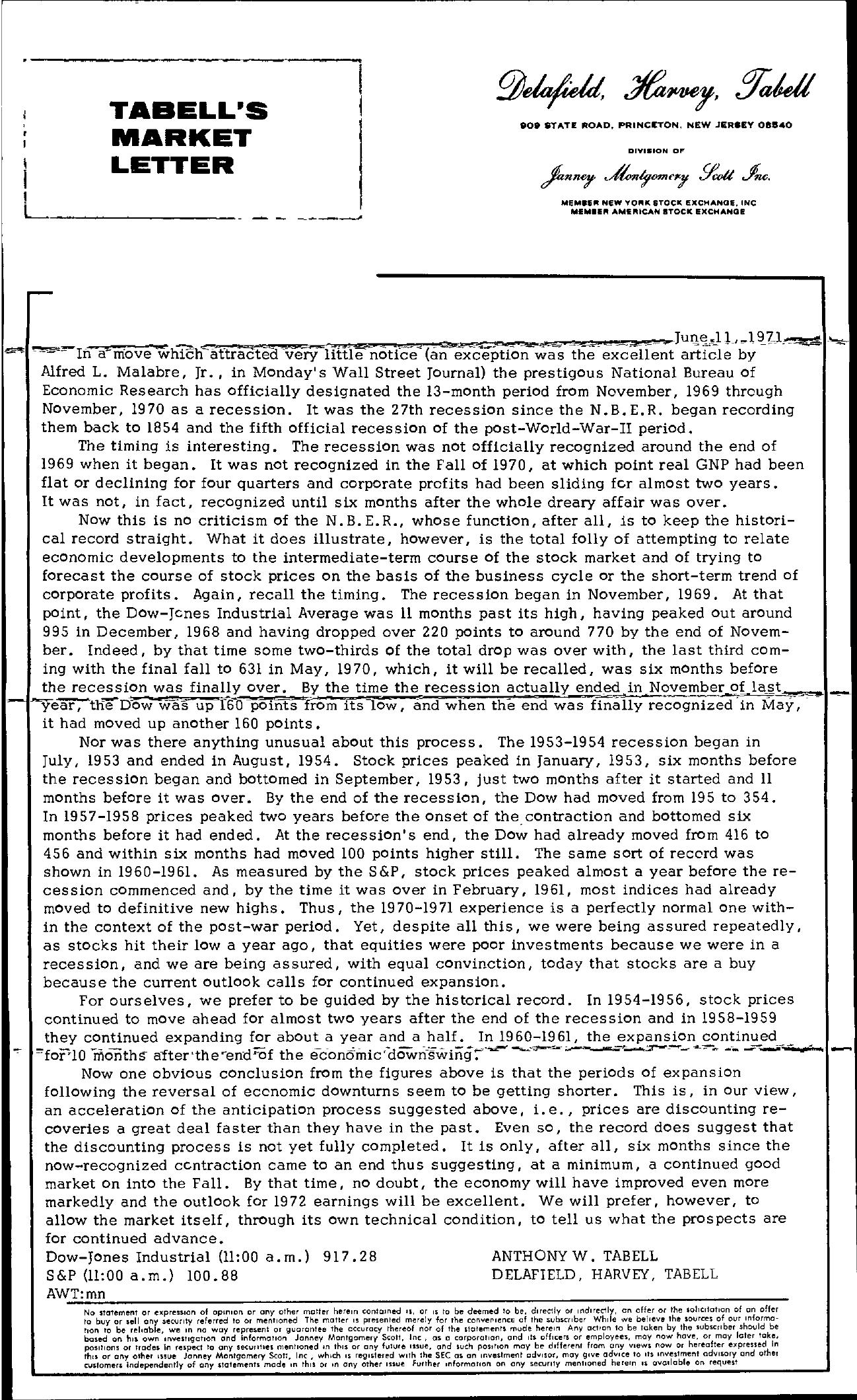 Tabell's Market Letter - June 11, 1971