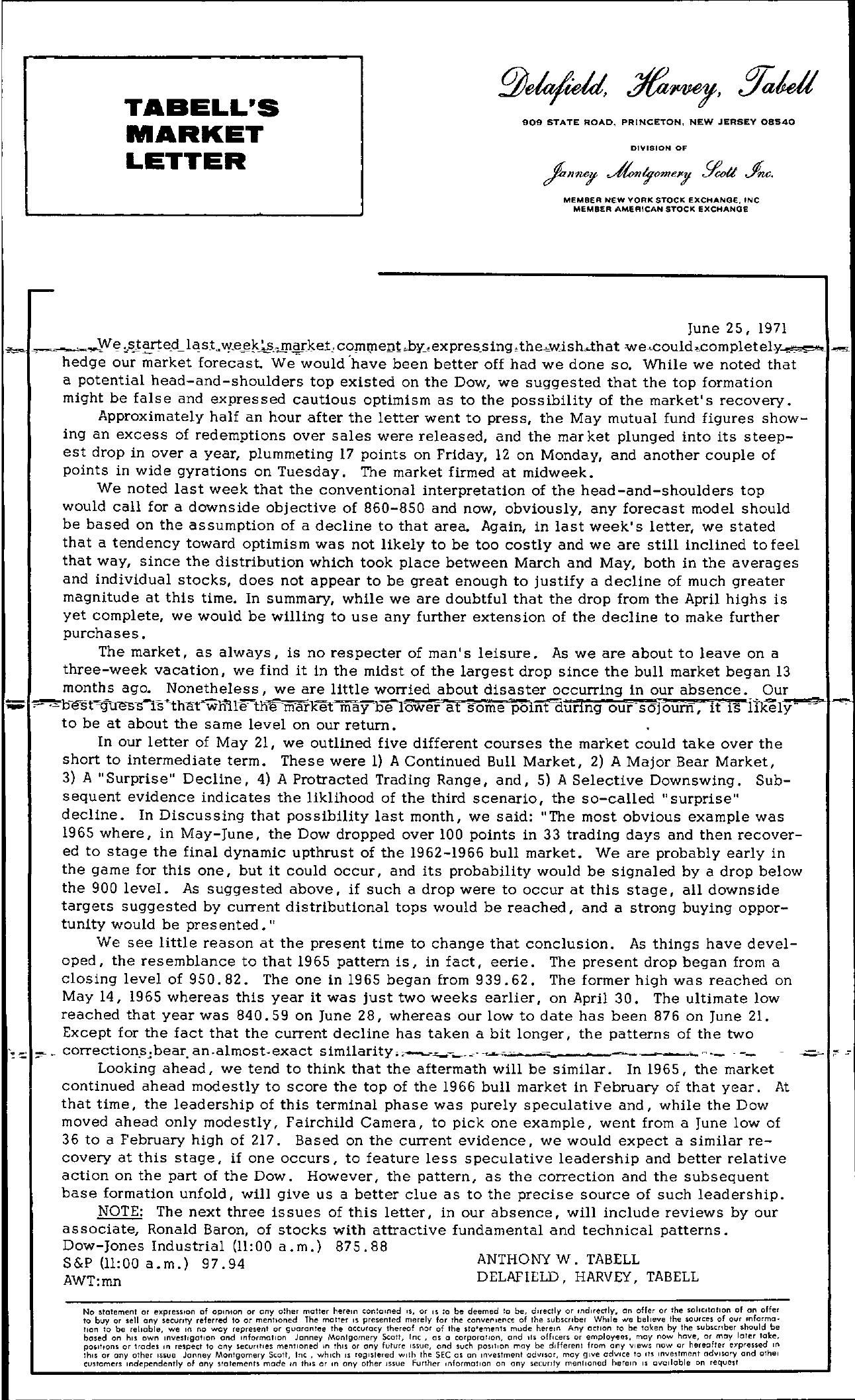 Tabell's Market Letter - June 25, 1971