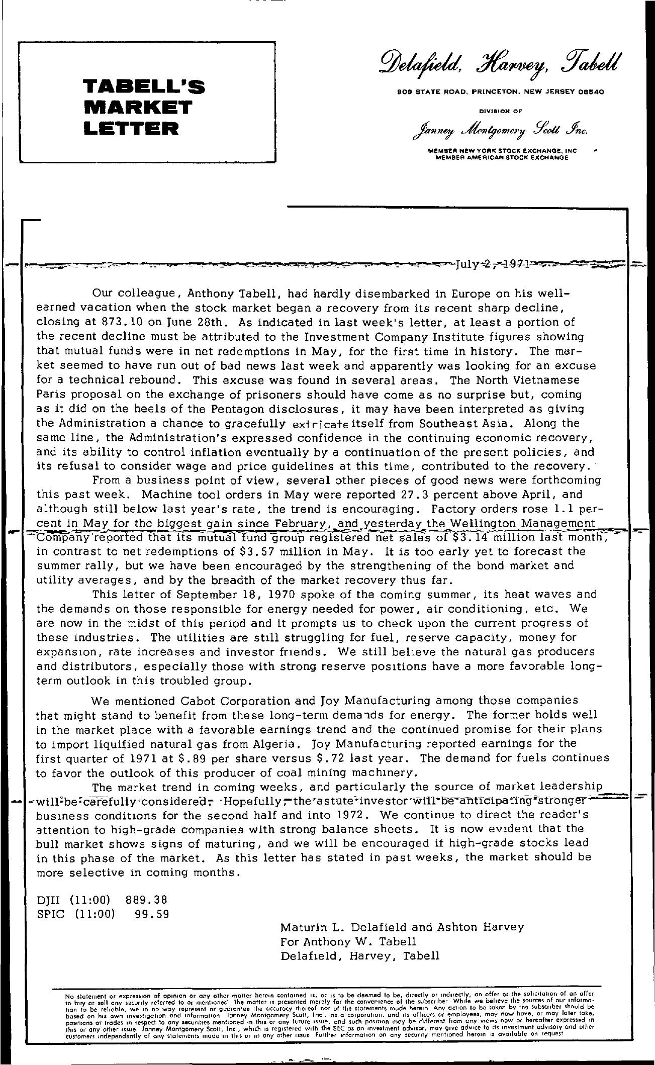 Tabell's Market Letter - July 02, 1971