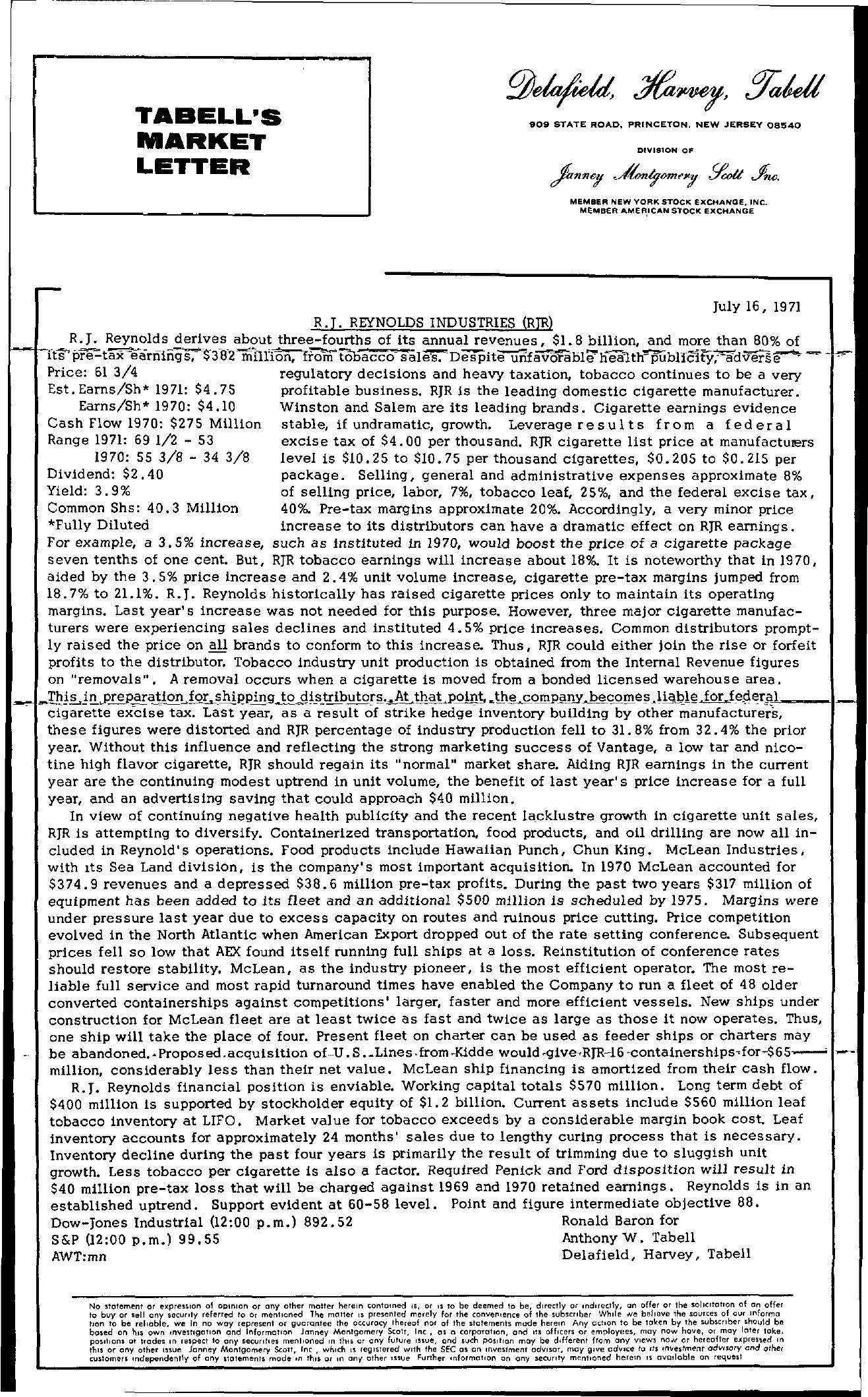 Tabell's Market Letter - July 16, 1971