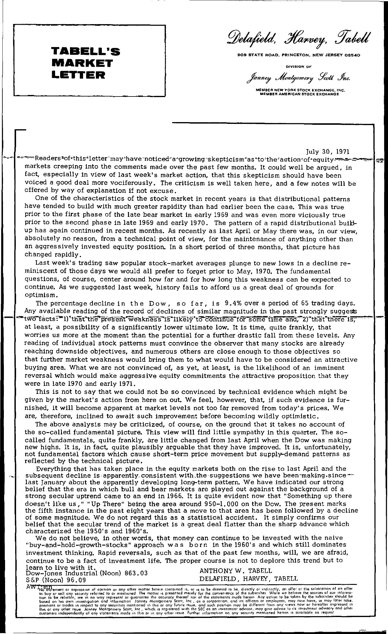 Tabell's Market Letter - July 30, 1971