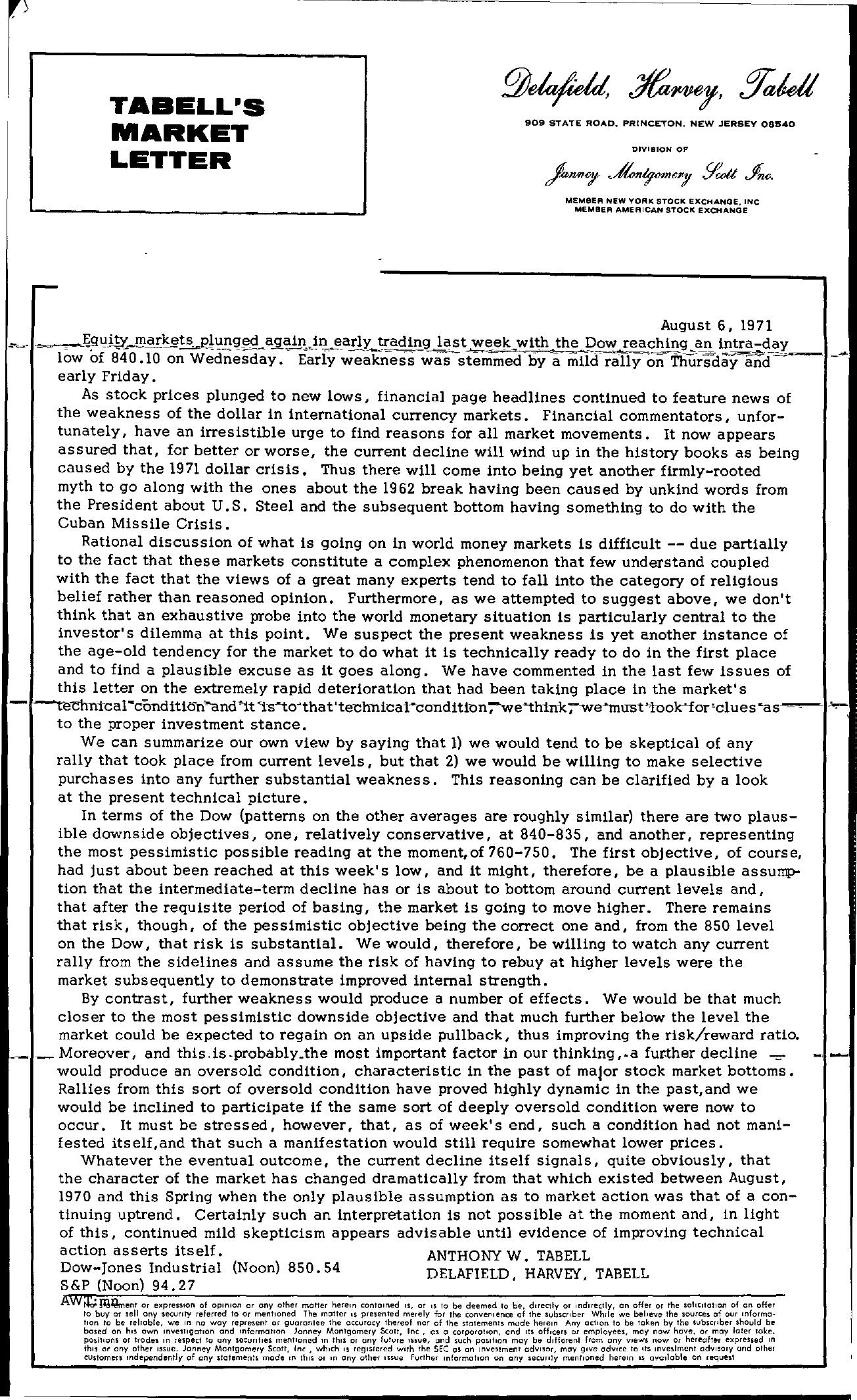 Tabell's Market Letter - August 06, 1971