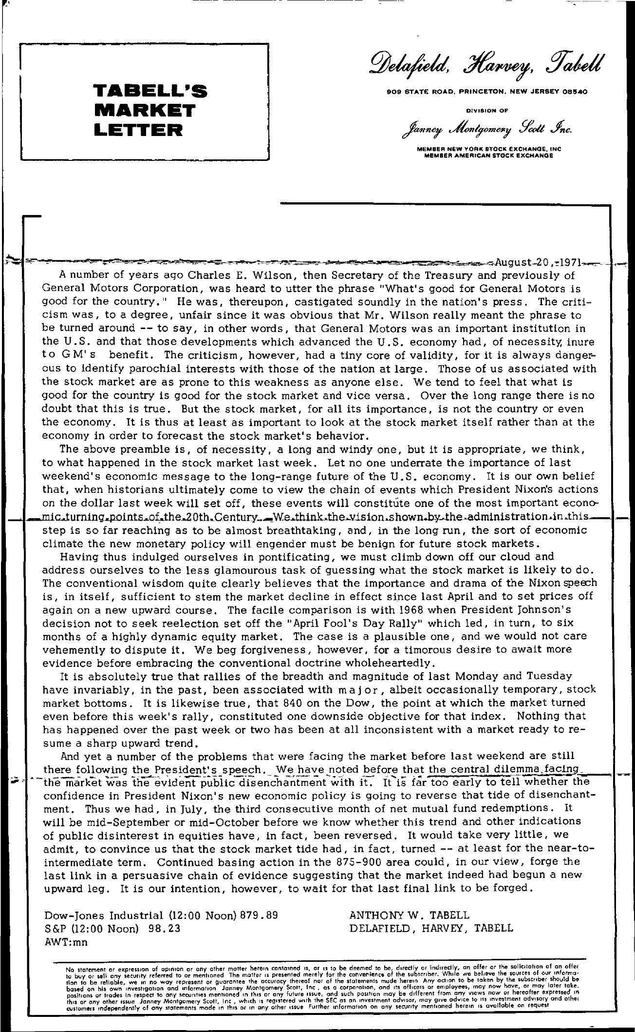 Tabell's Market Letter - August 20, 1971