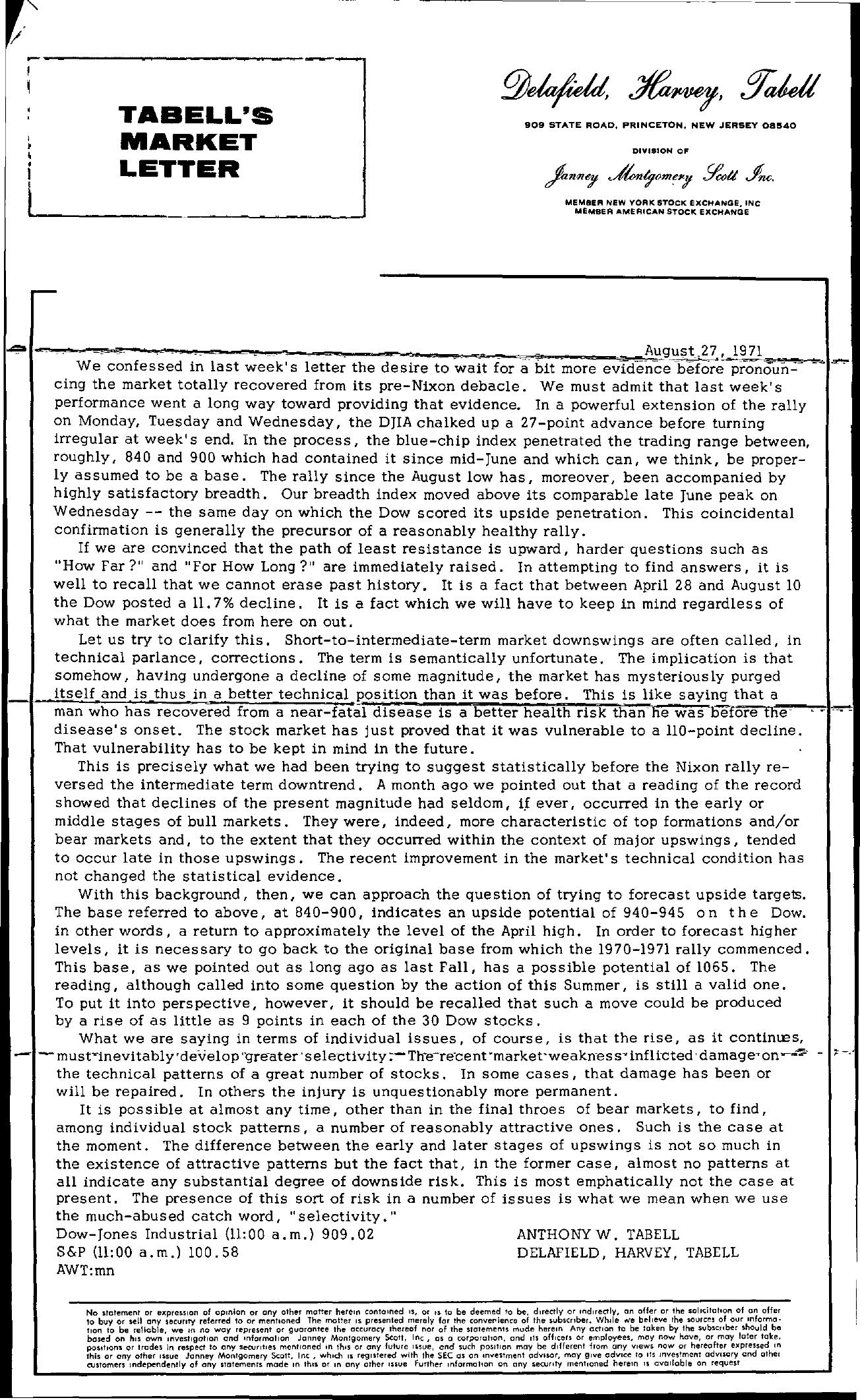 Tabell's Market Letter - August 27, 1971