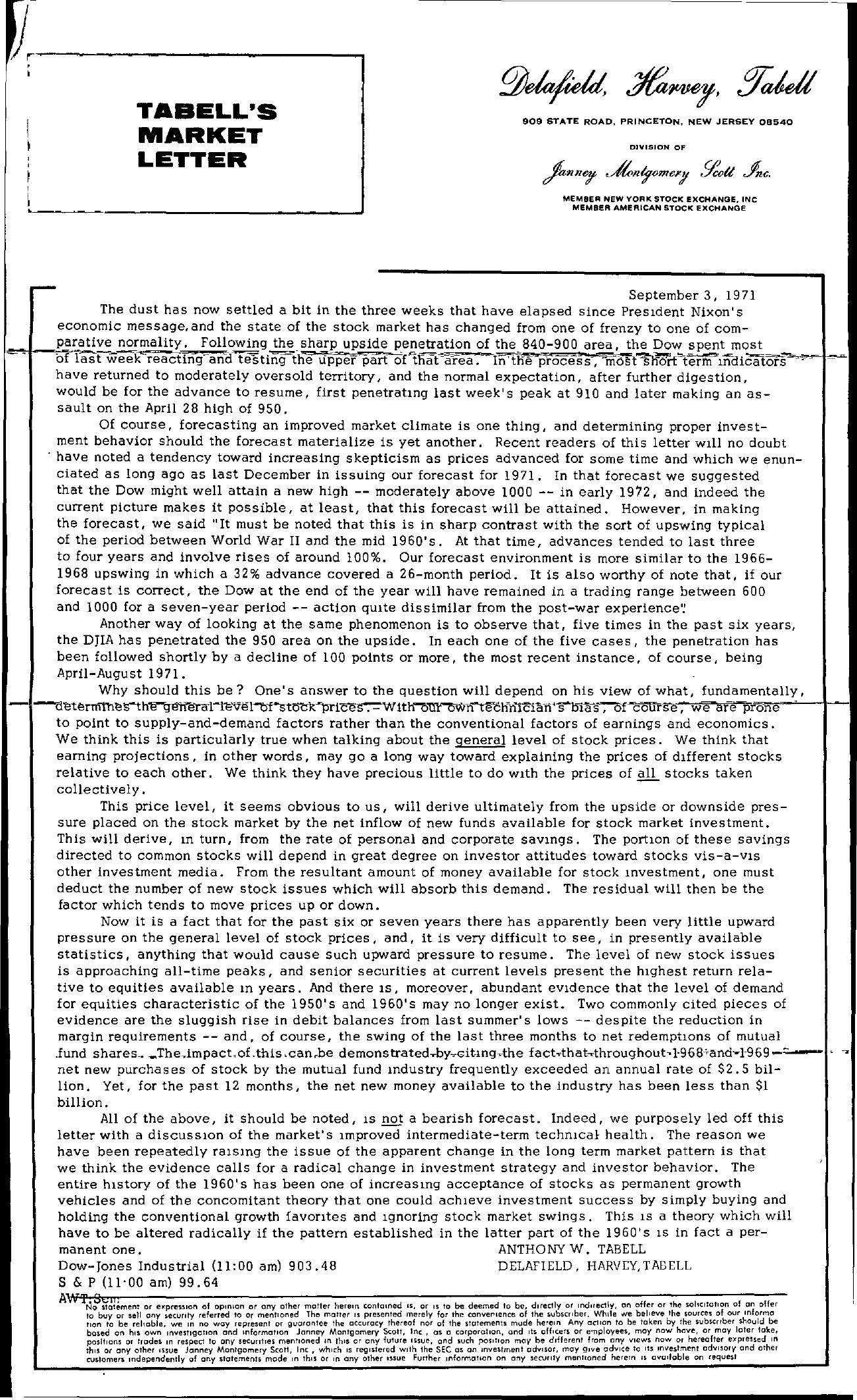 Tabell's Market Letter - September 03, 1971