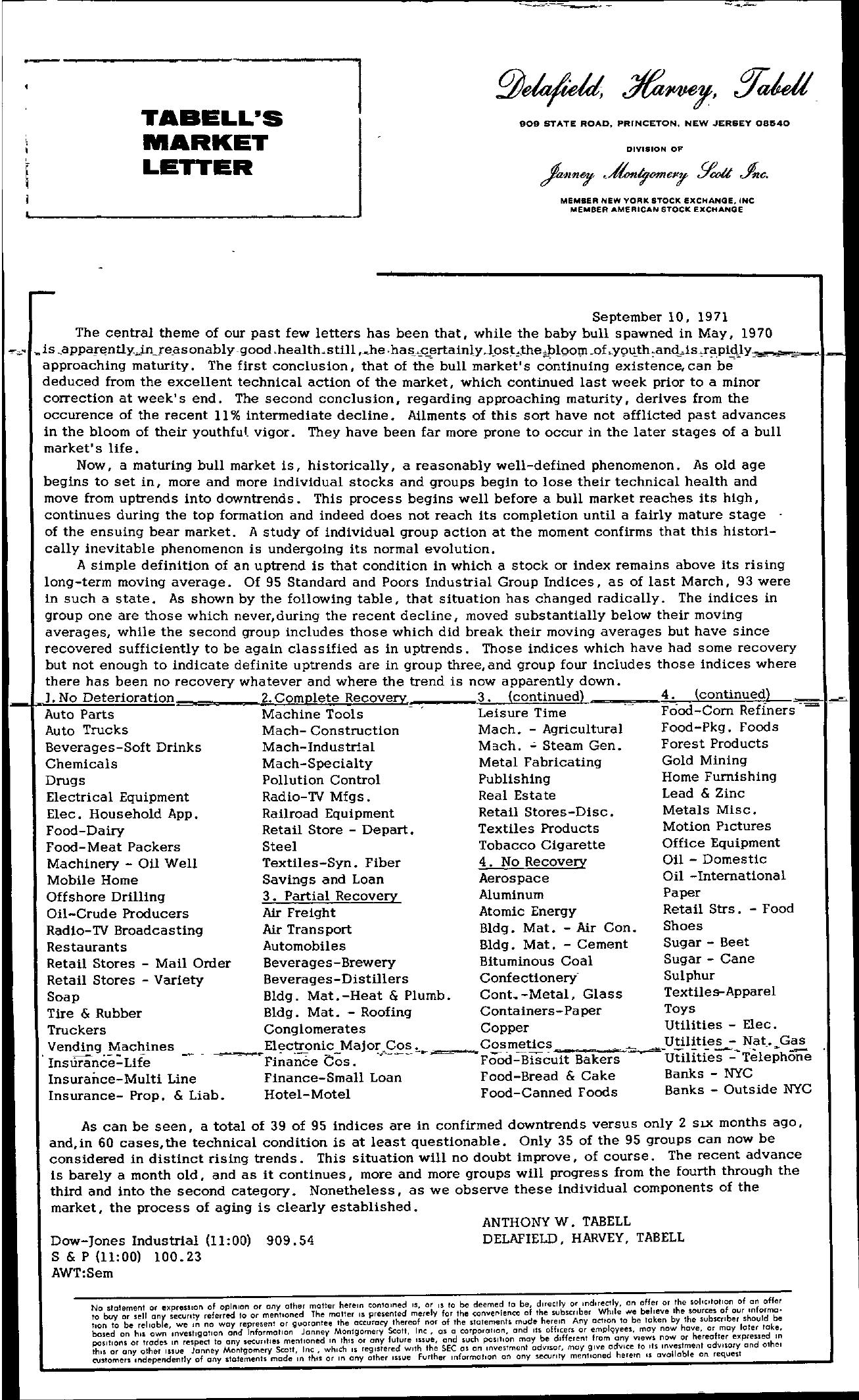 Tabell's Market Letter - September 10, 1971