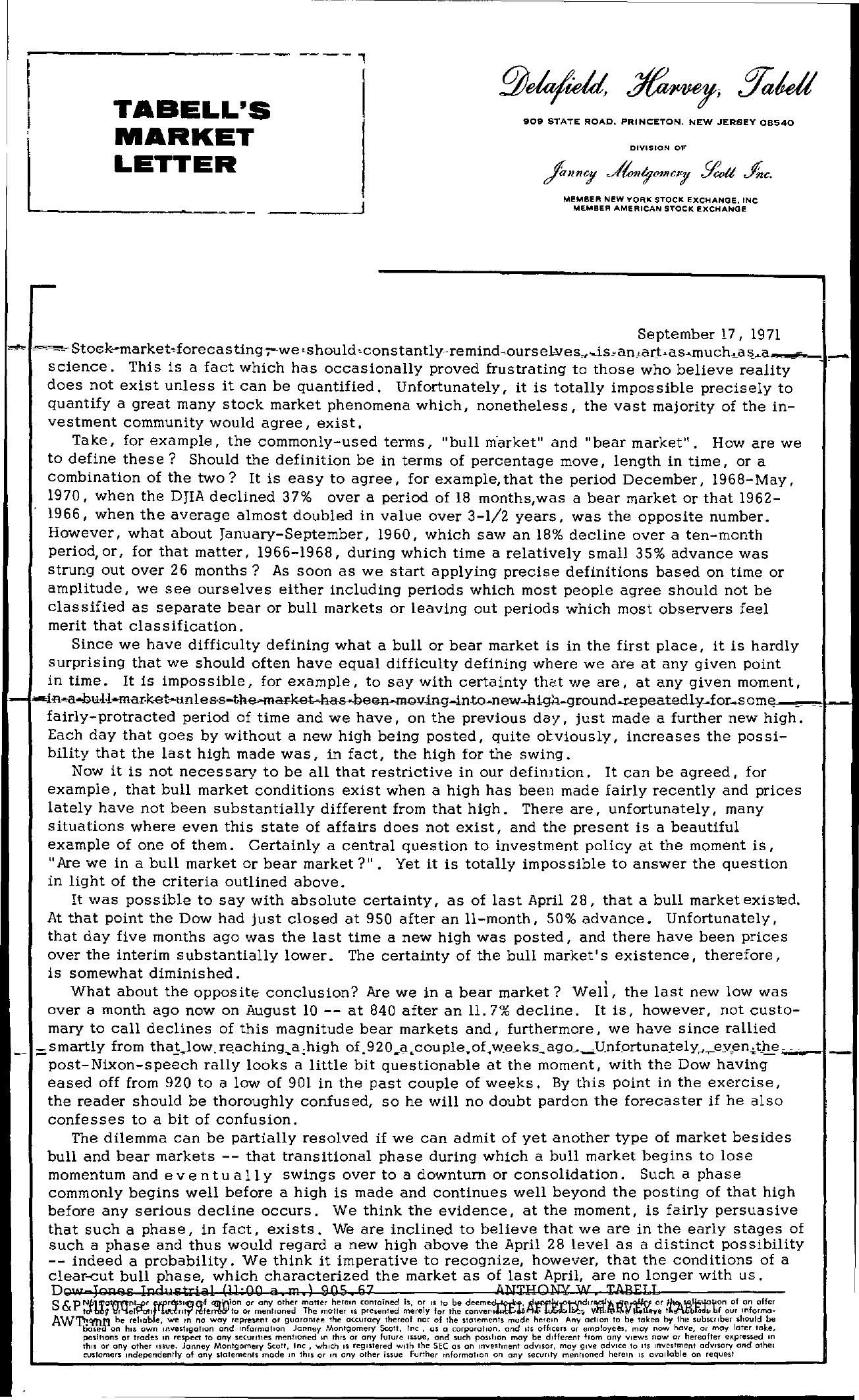 Tabell's Market Letter - September 17, 1971