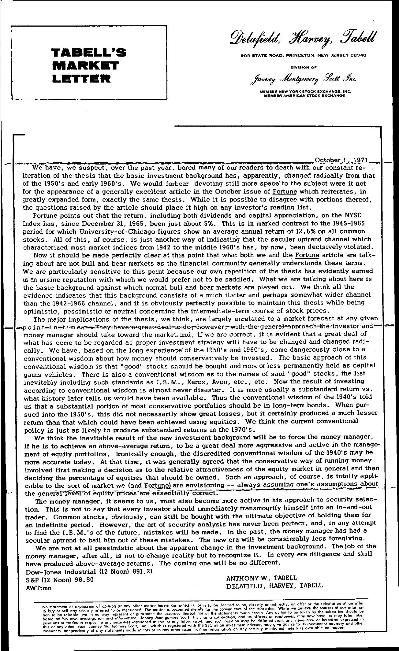 Tabell's Market Letter - October 01, 1971