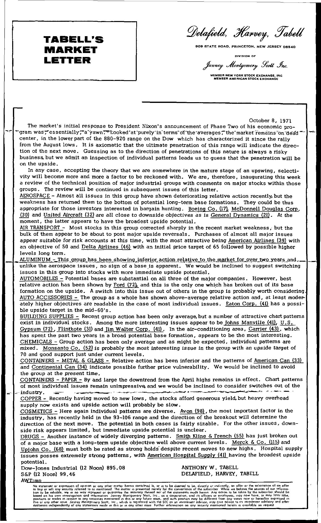 Tabell's Market Letter - October 08, 1971