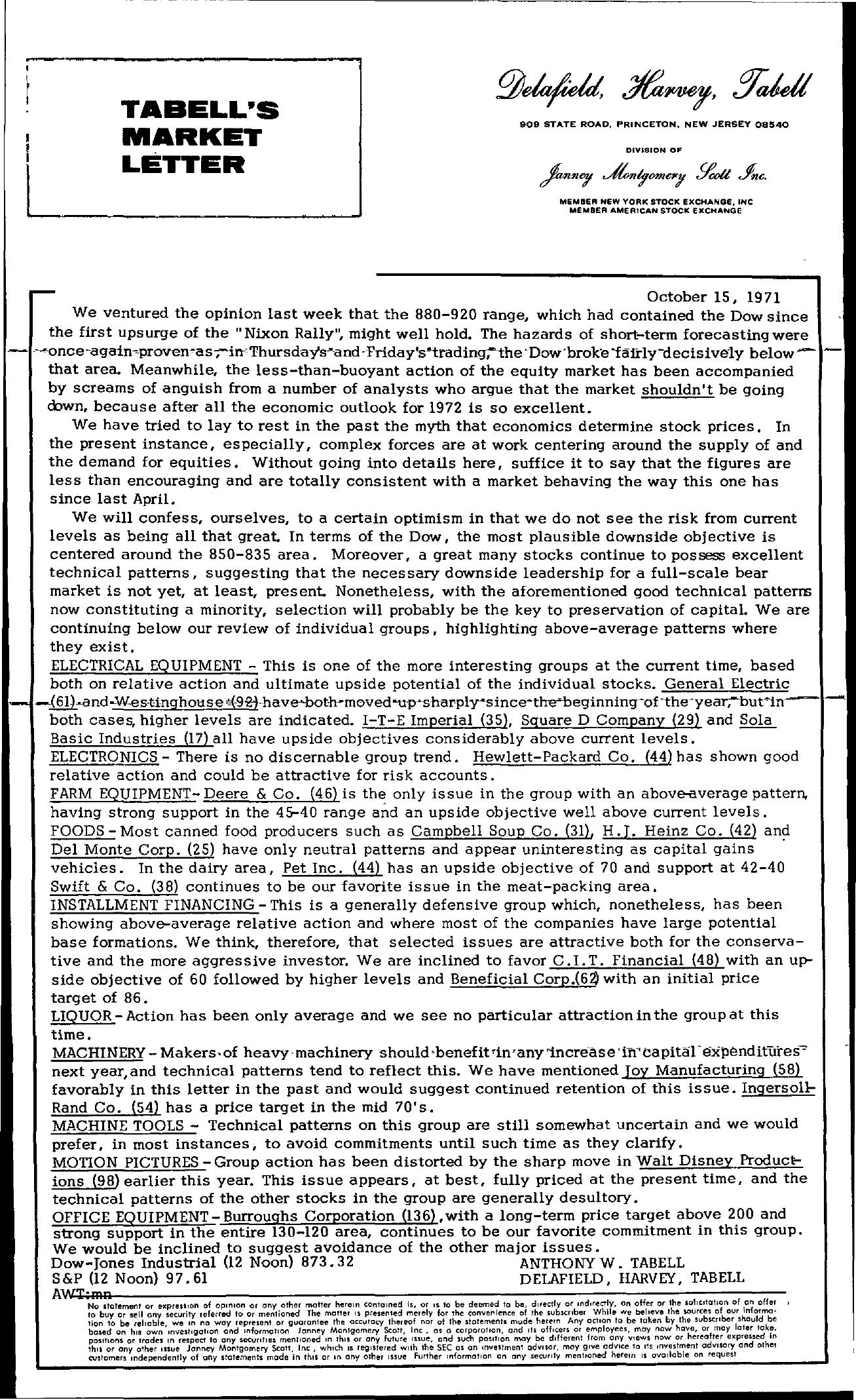 Tabell's Market Letter - October 15, 1971