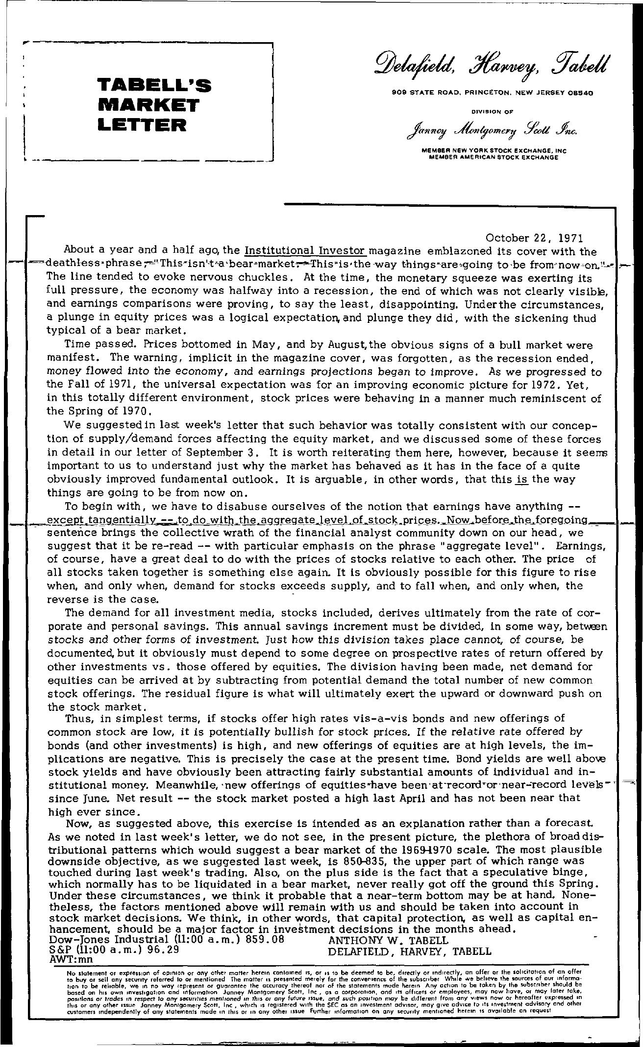Tabell's Market Letter - October 22, 1971