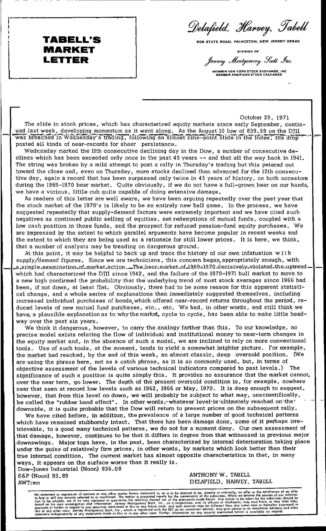Tabell's Market Letter - October 29, 1971