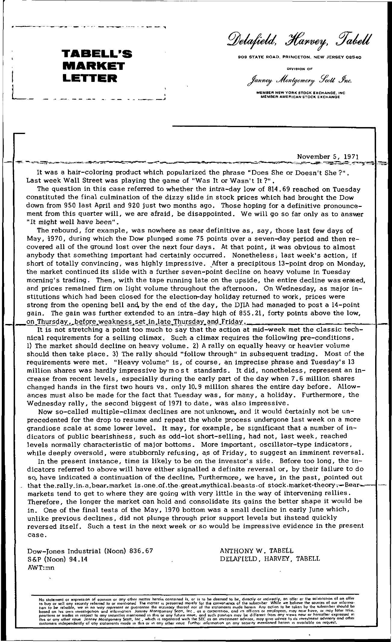 Tabell's Market Letter - November 05, 1971
