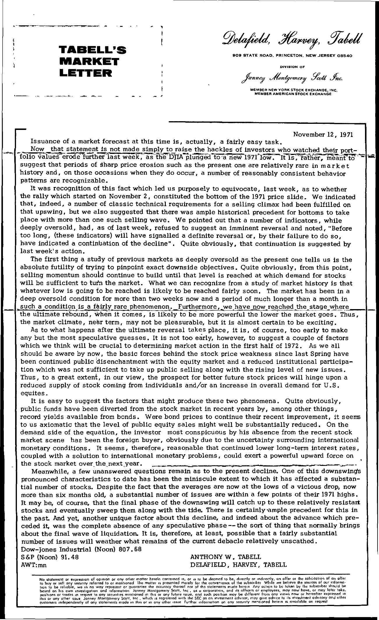 Tabell's Market Letter - November 12, 1971