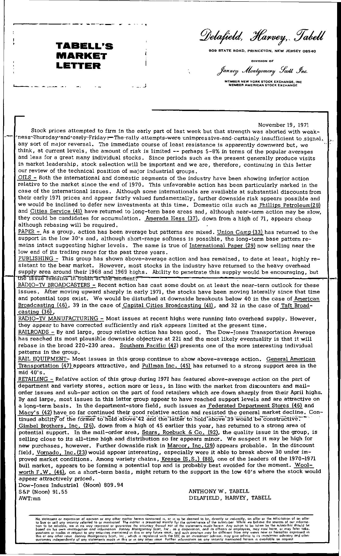 Tabell's Market Letter - November 19, 1971