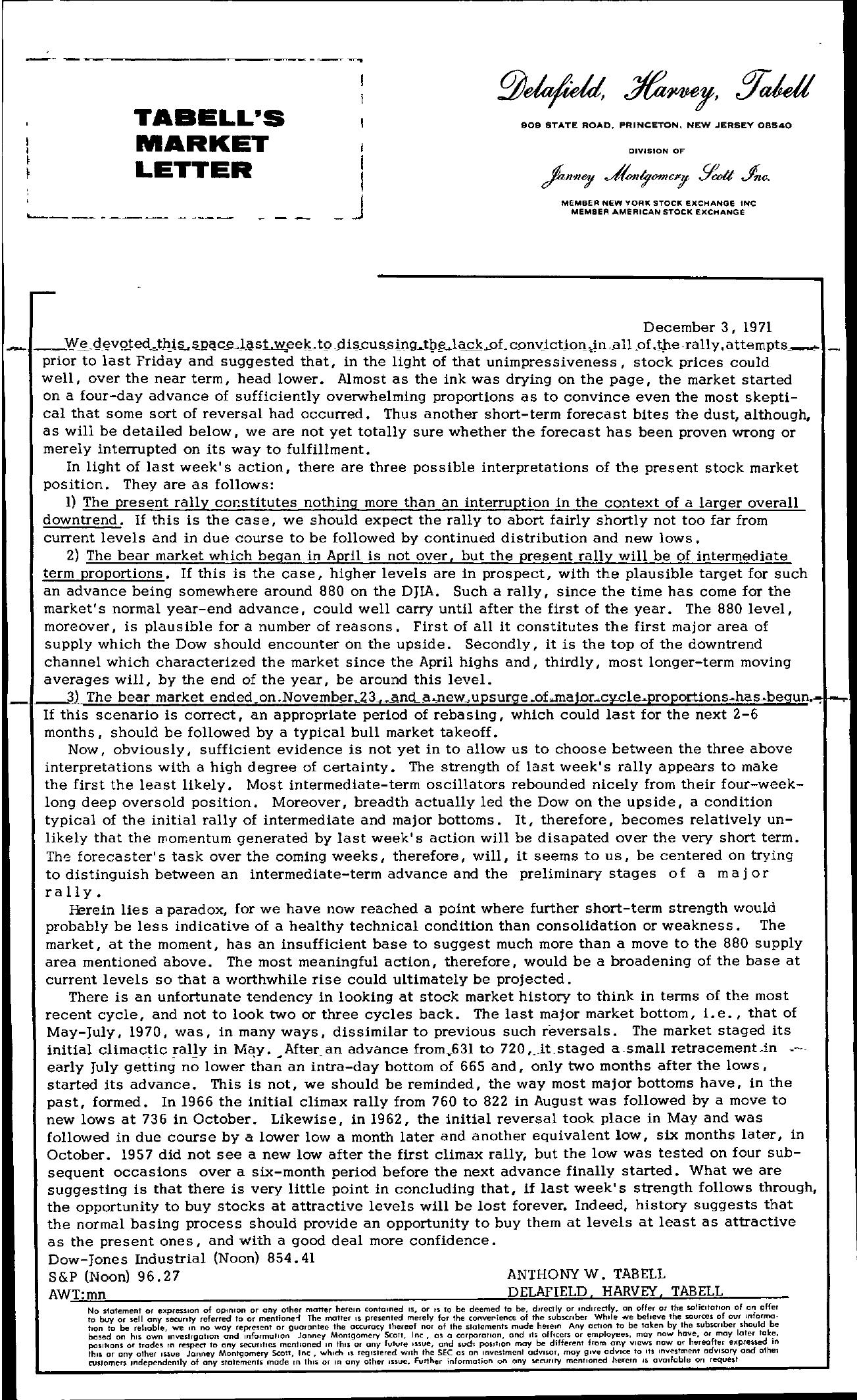 Tabell's Market Letter - December 03, 1971