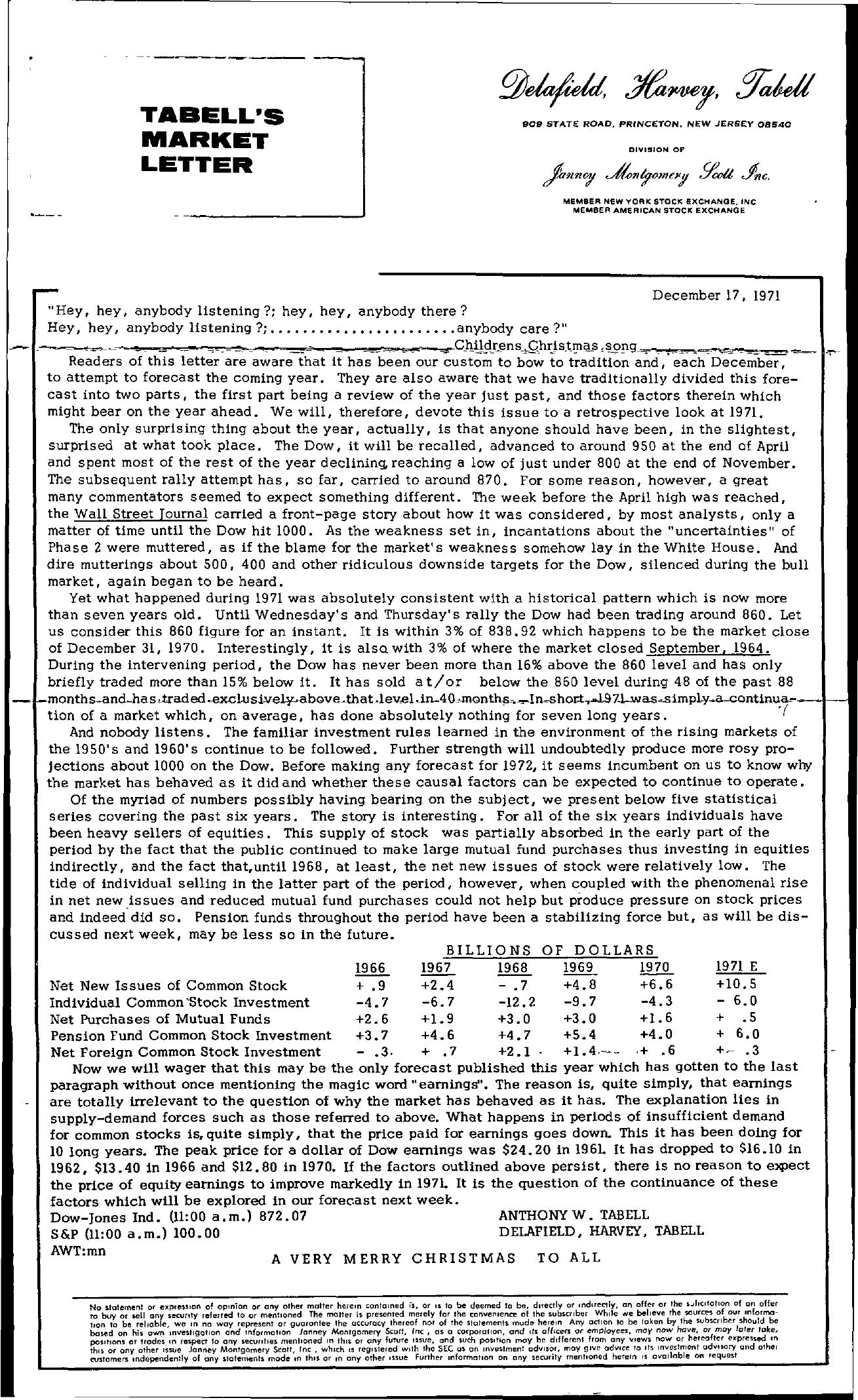 Tabell's Market Letter - December 17, 1971
