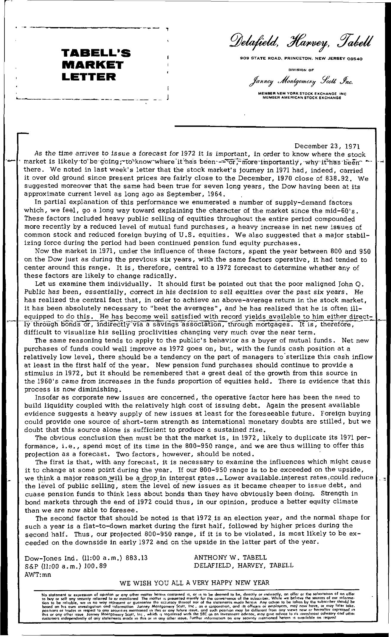Tabell's Market Letter - December 23, 1971