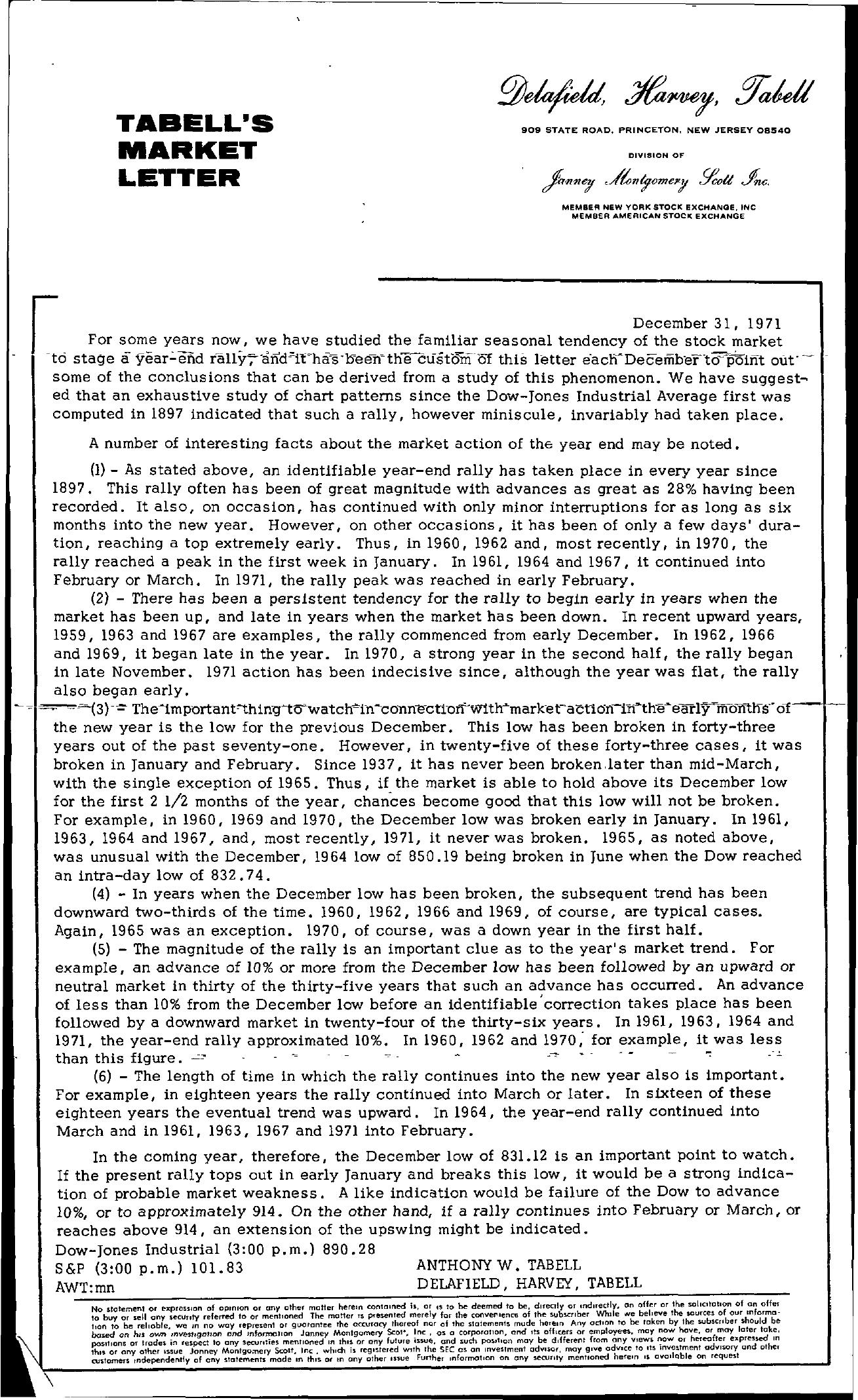 Tabell's Market Letter - December 31, 1971