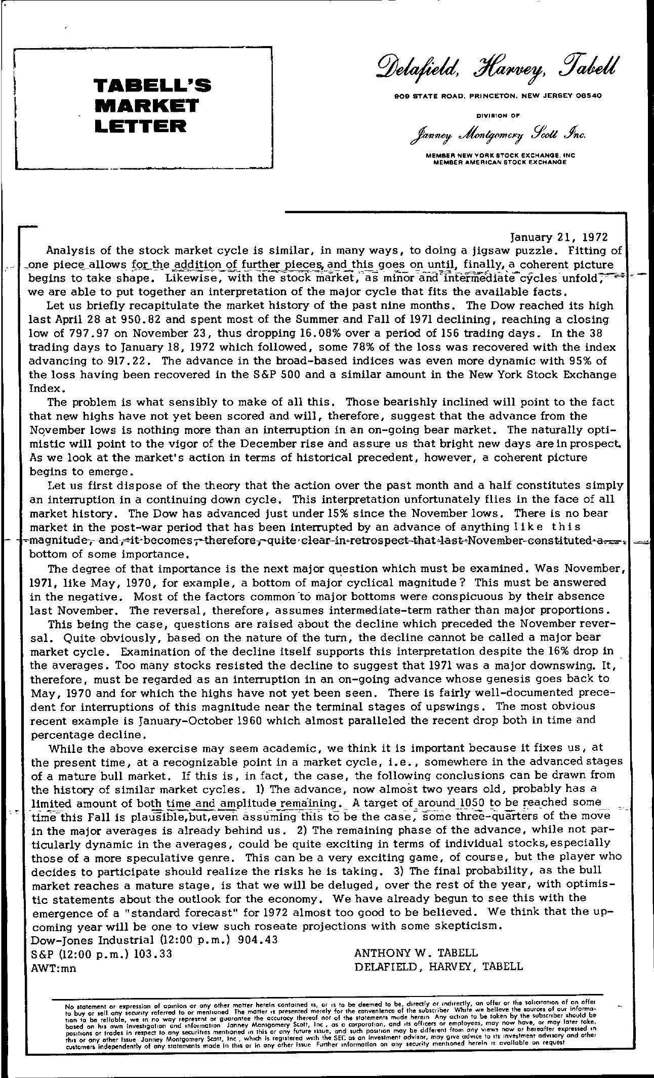 Tabell's Market Letter - January 21, 1972