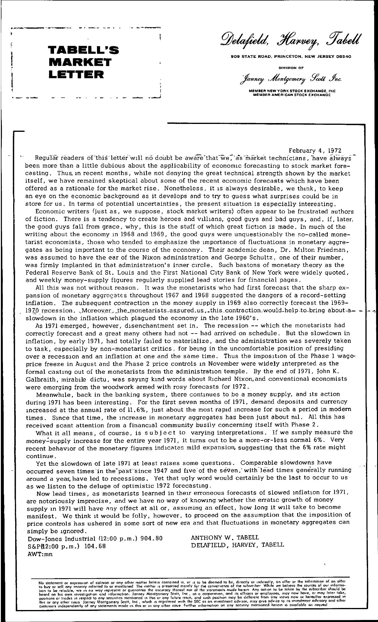 Tabell's Market Letter - February 04, 1972