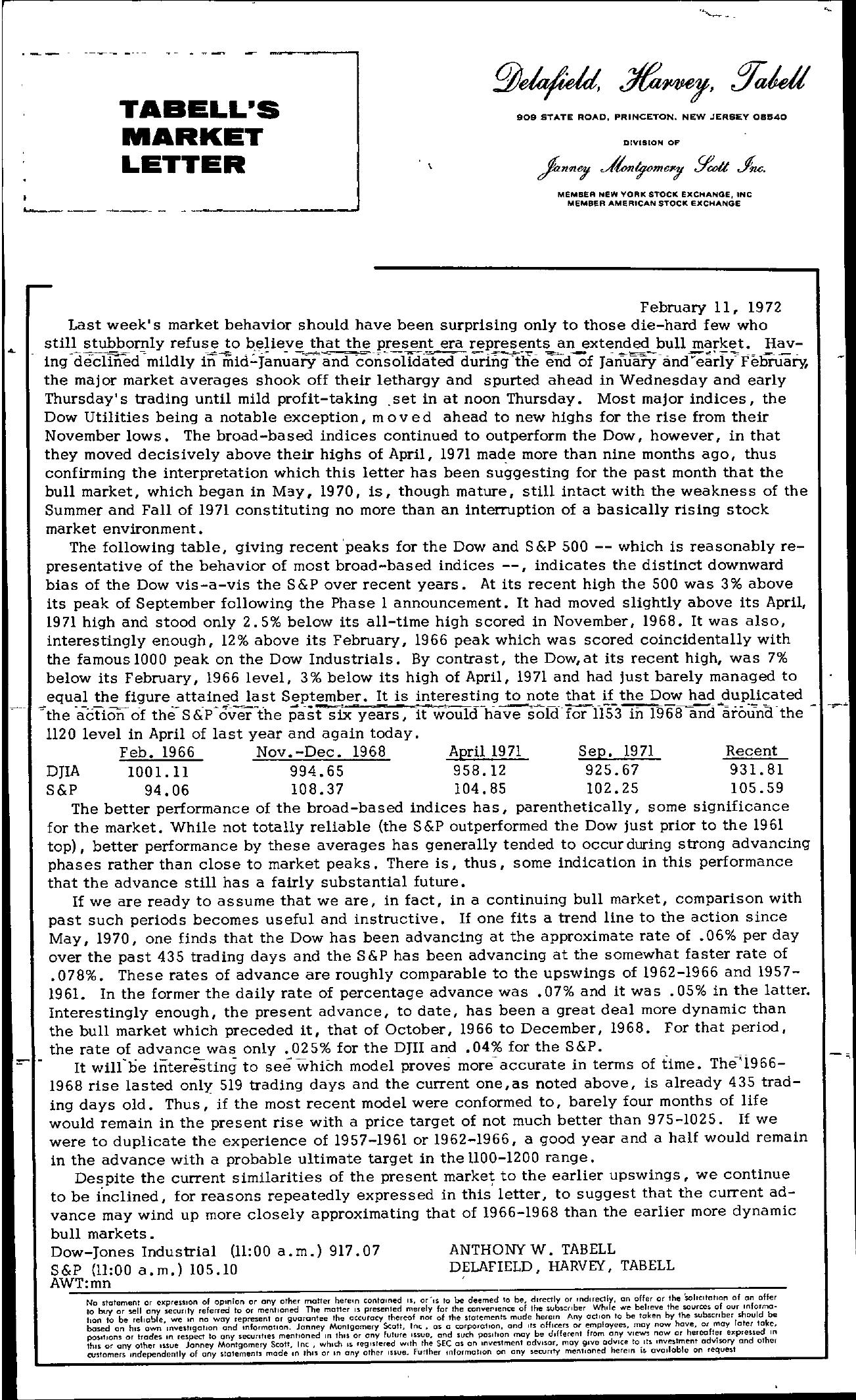 Tabell's Market Letter - February 11, 1972