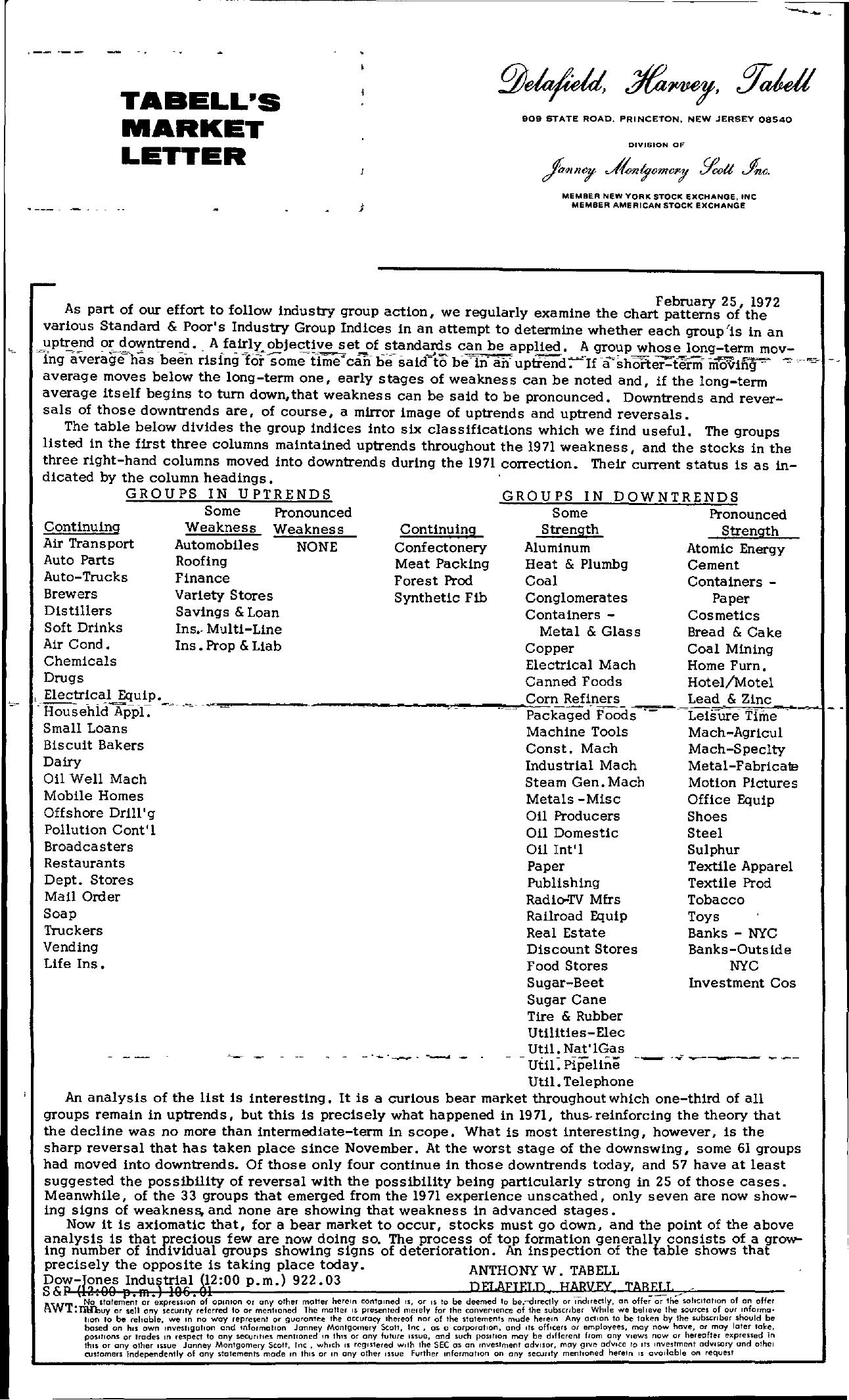 Tabell's Market Letter - February 25, 1972
