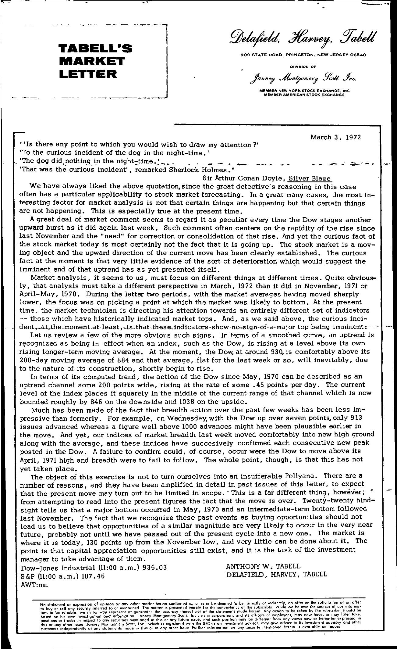 Tabell's Market Letter - March 03, 1972