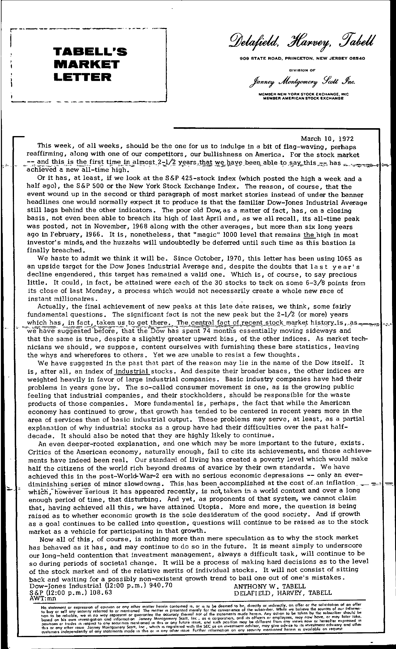 Tabell's Market Letter - March 10, 1972