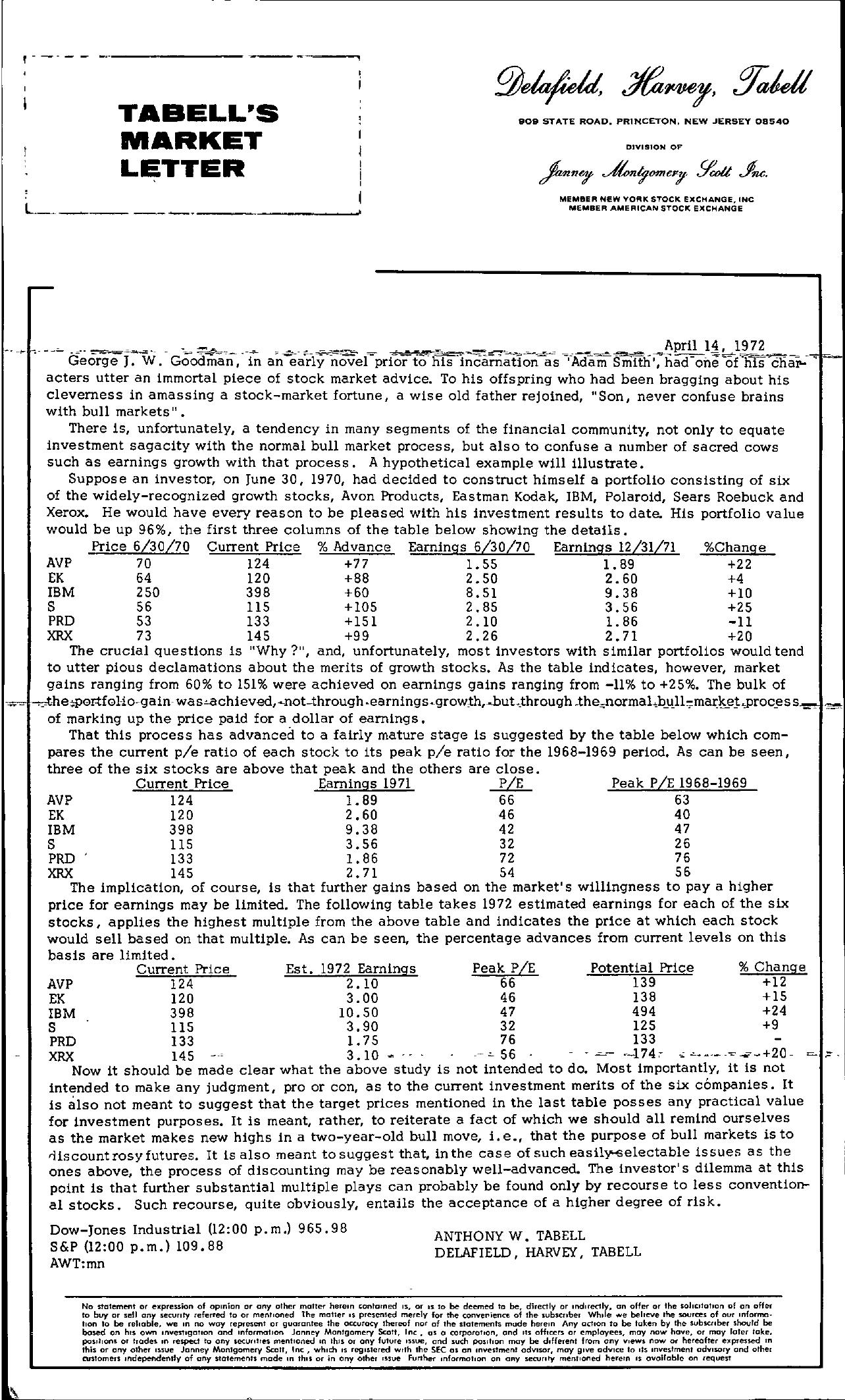 Tabell's Market Letter - April 14, 1972