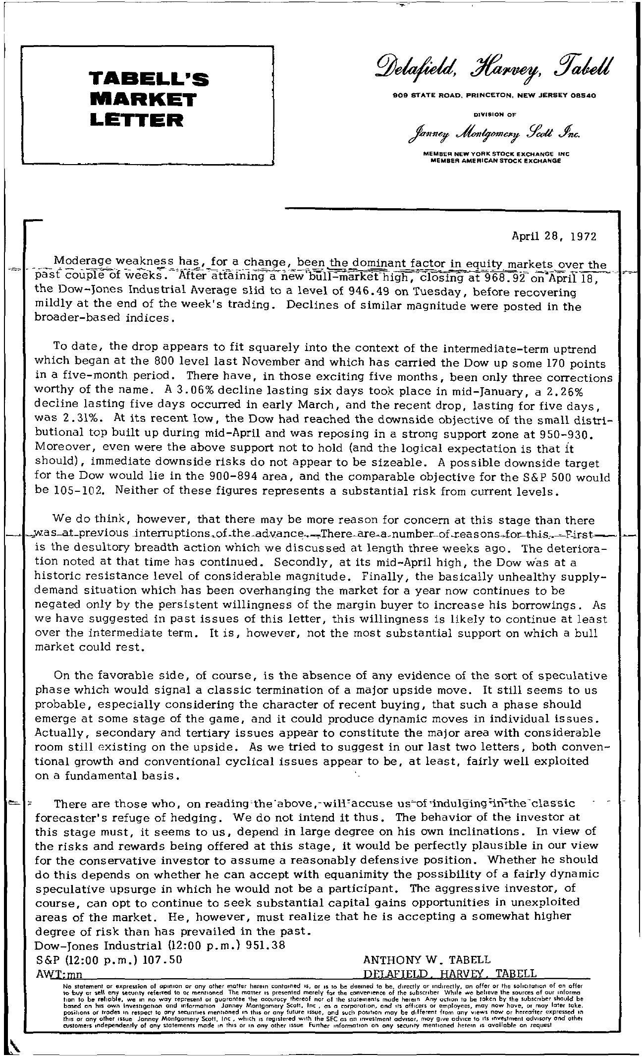 Tabell's Market Letter - April 28, 1972