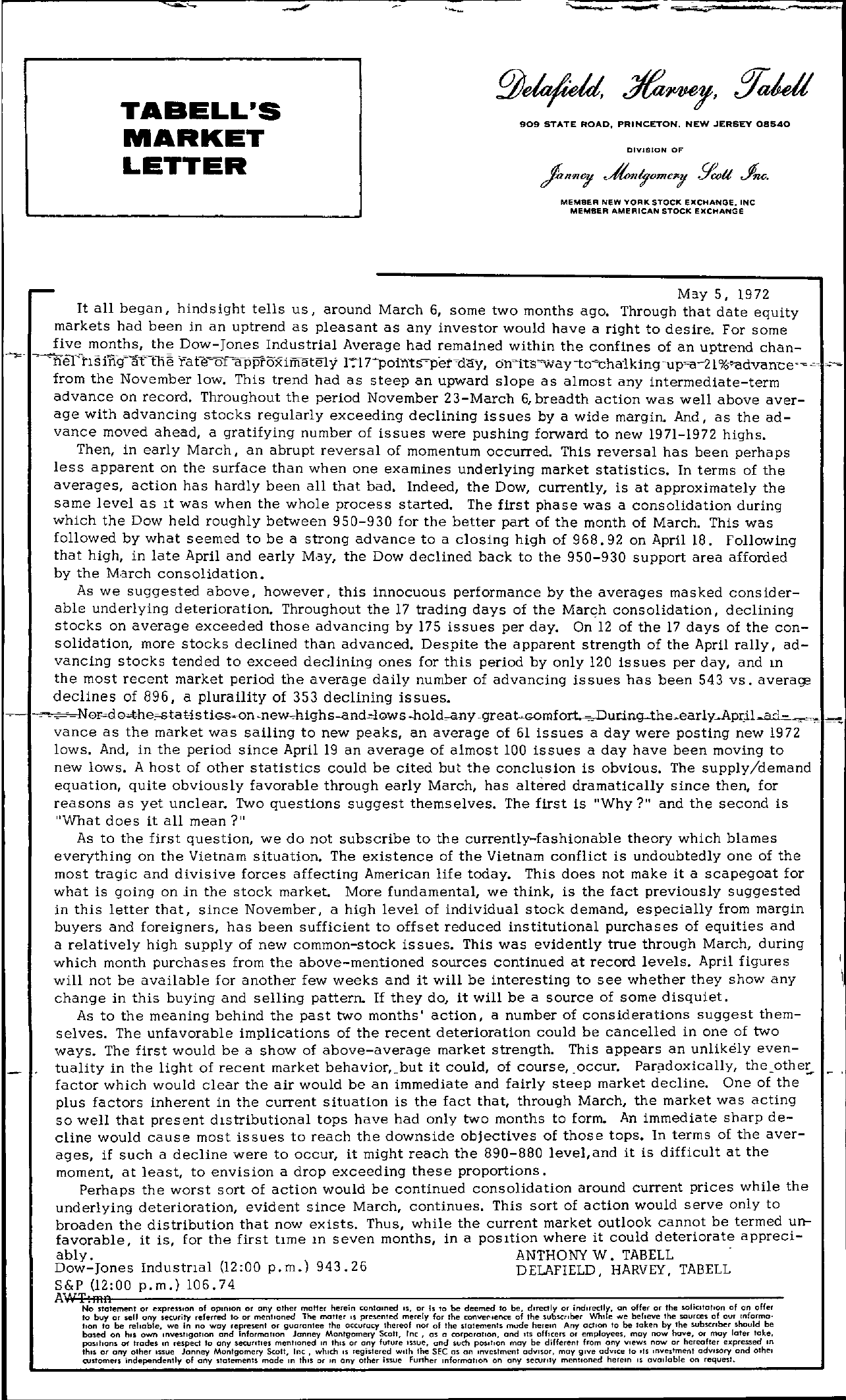 Tabell's Market Letter - May 05, 1972