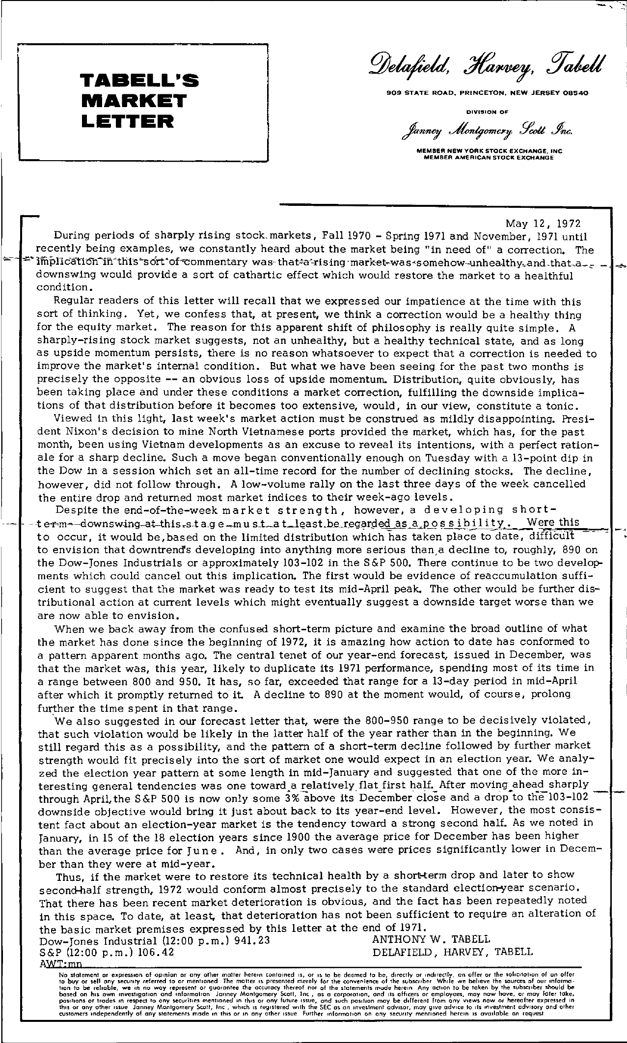 Tabell's Market Letter - May 12, 1972