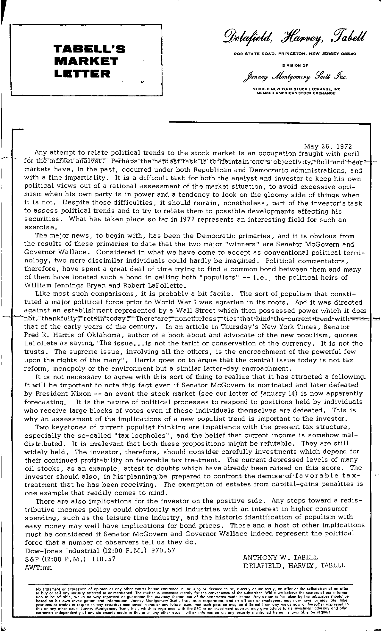 Tabell's Market Letter - May 26, 1972