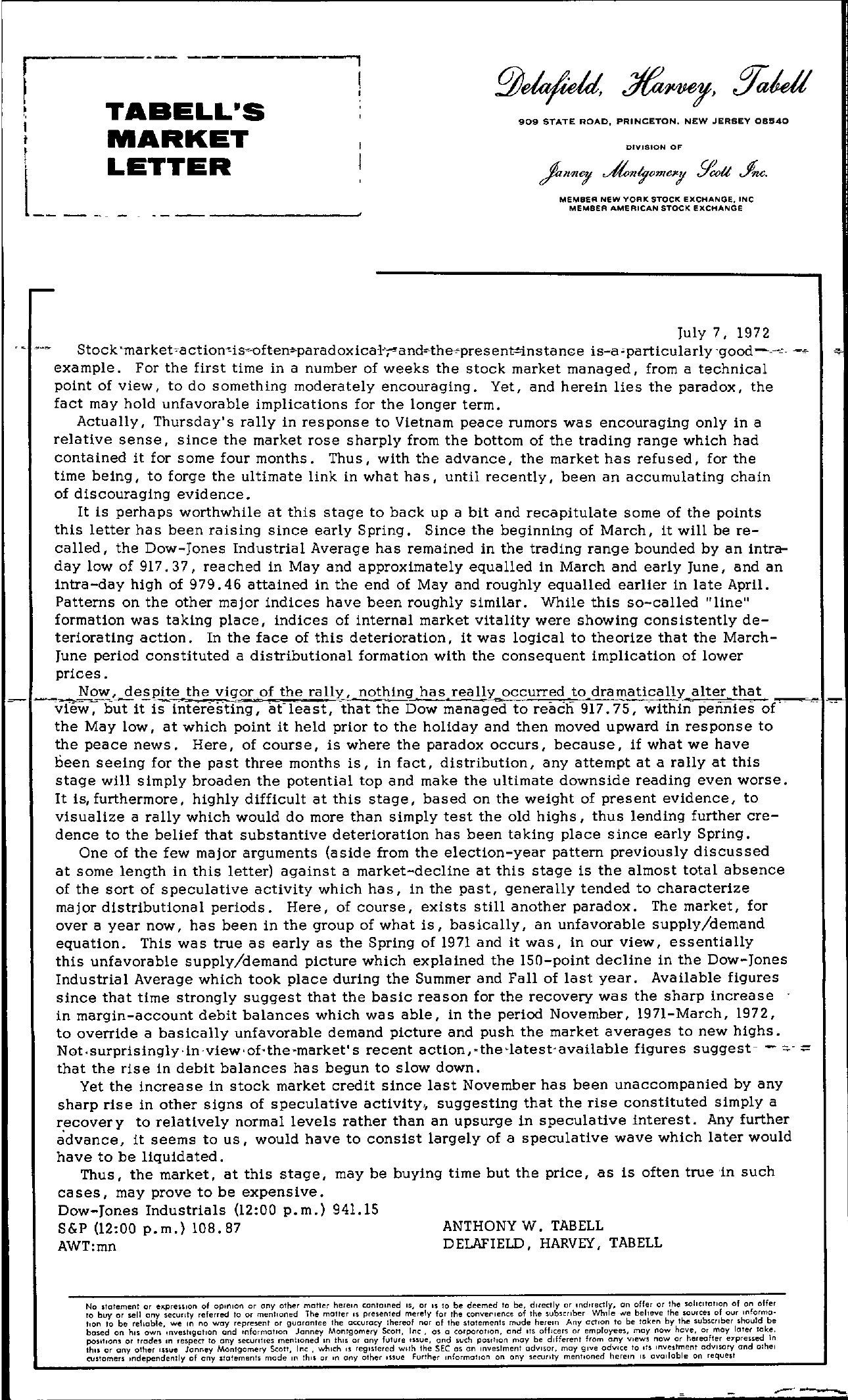 Tabell's Market Letter - July 07, 1972