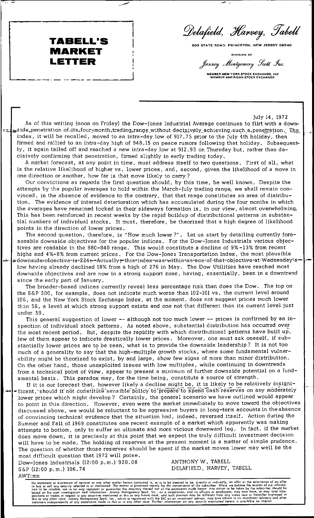 Tabell's Market Letter - July 14, 1972