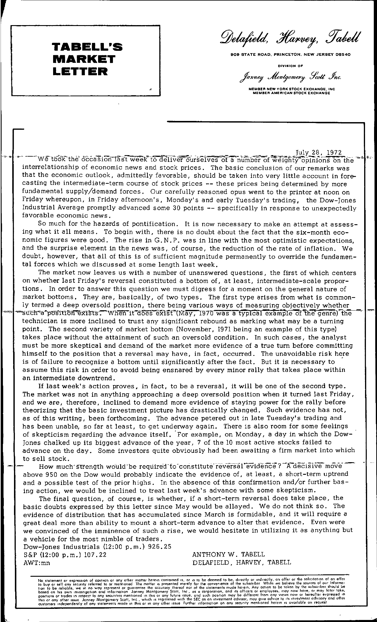 Tabell's Market Letter - July 28, 1972