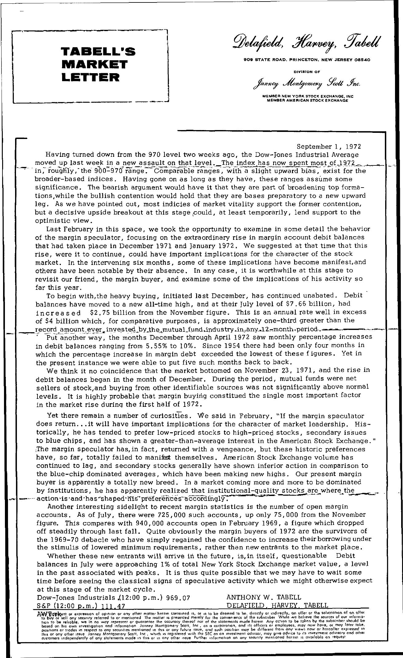 Tabell's Market Letter - September 01, 1972