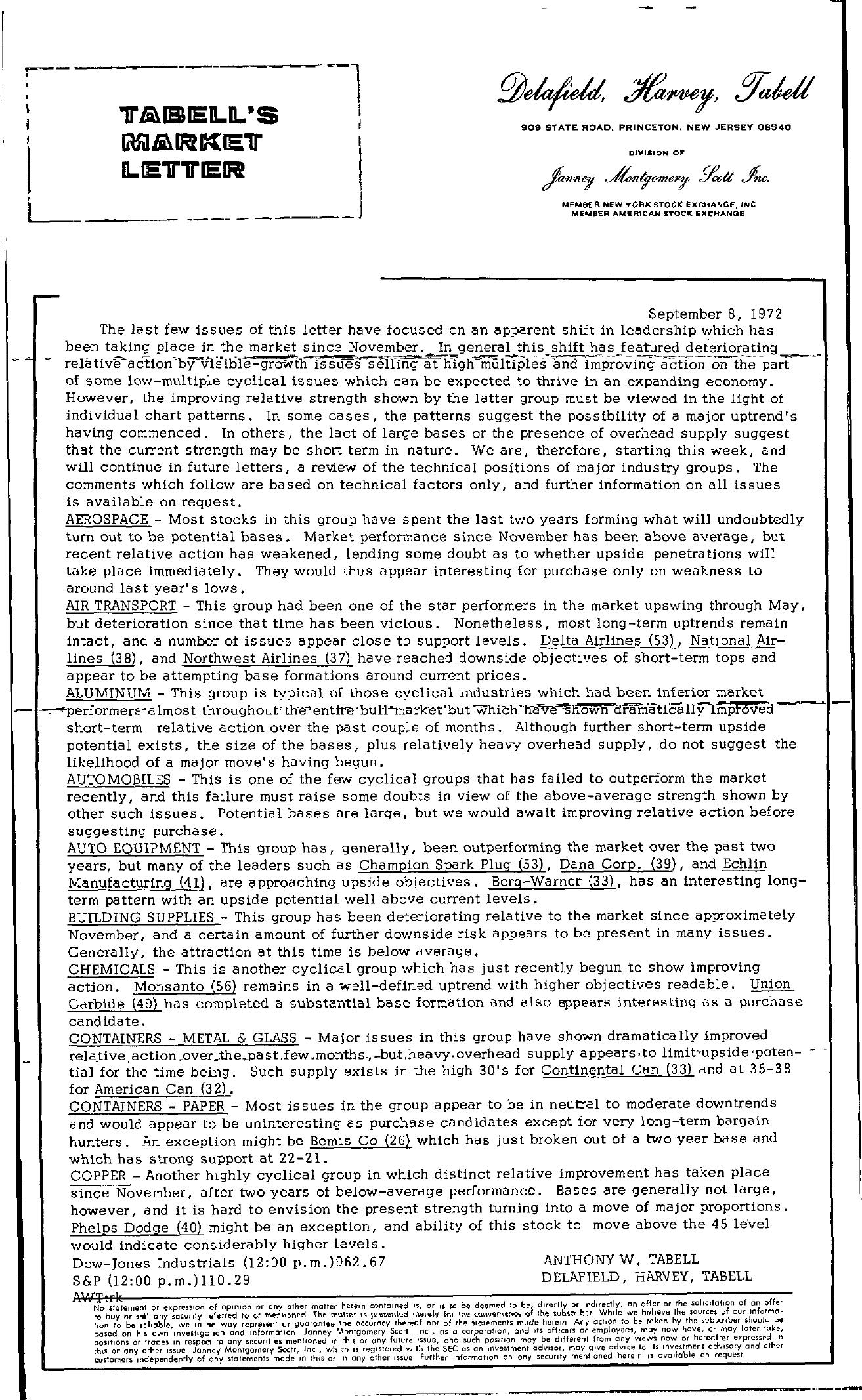 Tabell's Market Letter - September 08, 1972