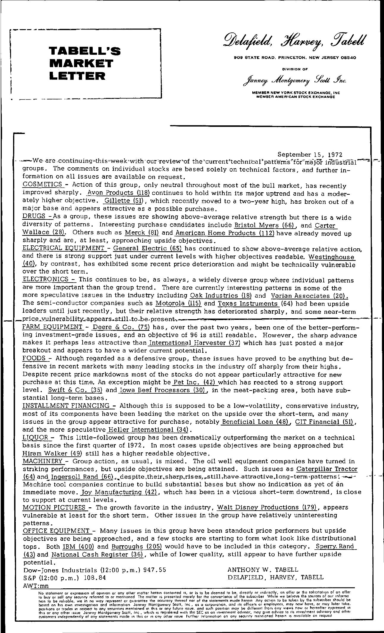 Tabell's Market Letter - September 15, 1972
