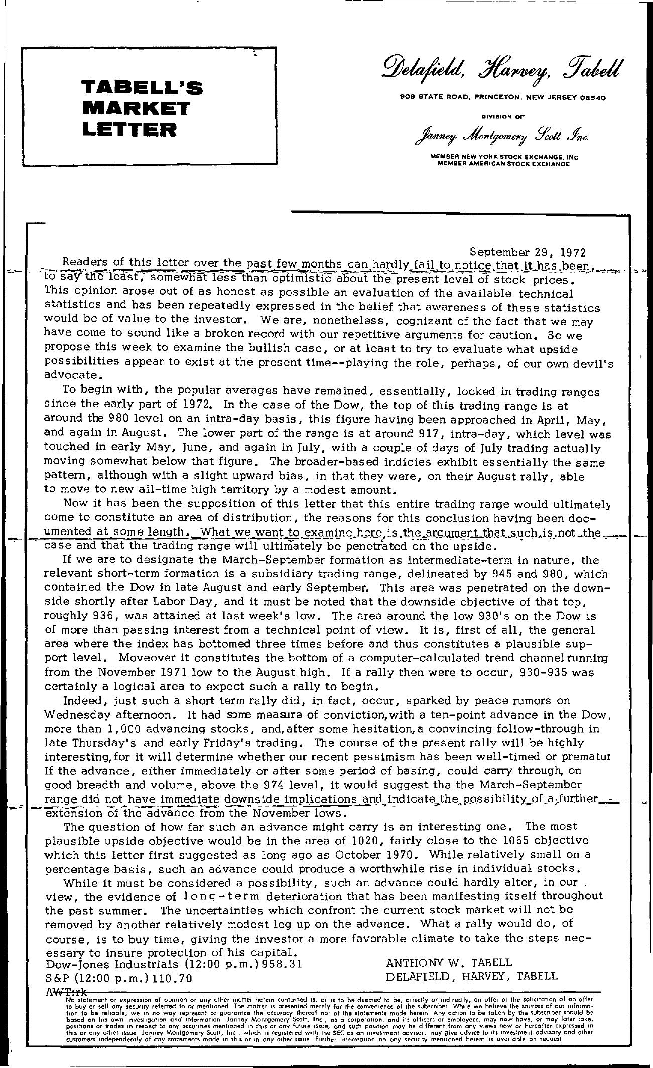 Tabell's Market Letter - September 29, 1972