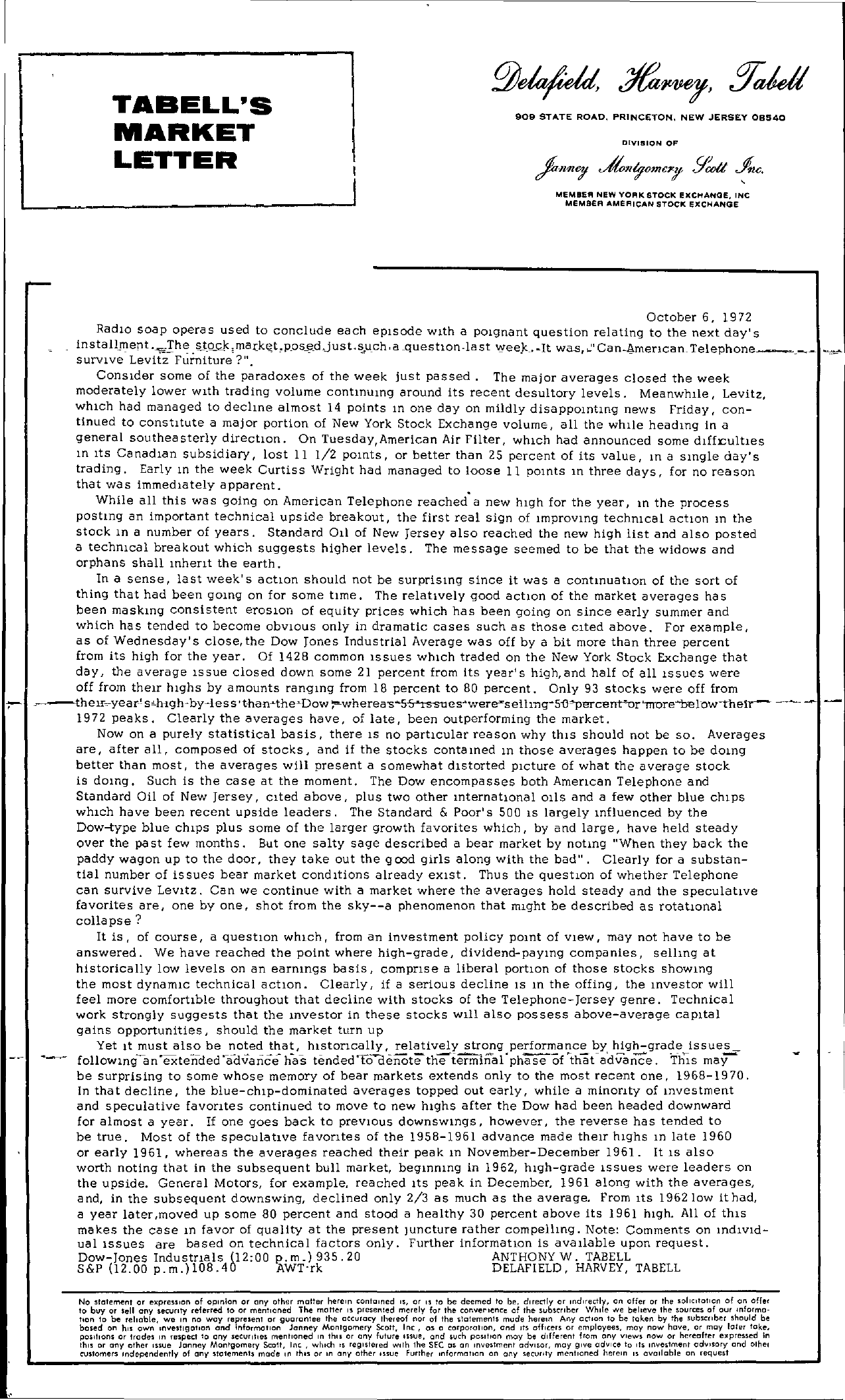 Tabell's Market Letter - October 06, 1972