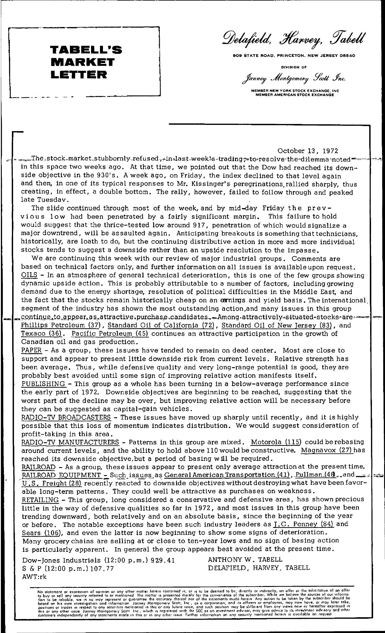Tabell's Market Letter - October 13, 1972