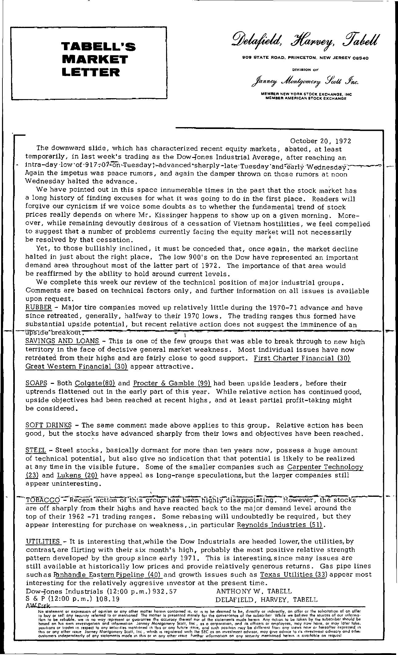 Tabell's Market Letter - October 20, 1972