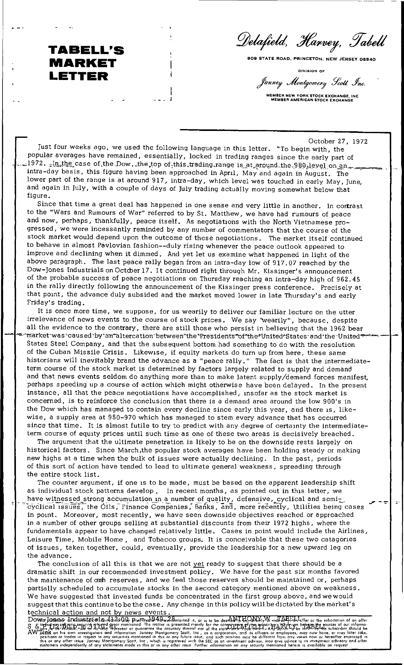 Tabell's Market Letter - October 27, 1972