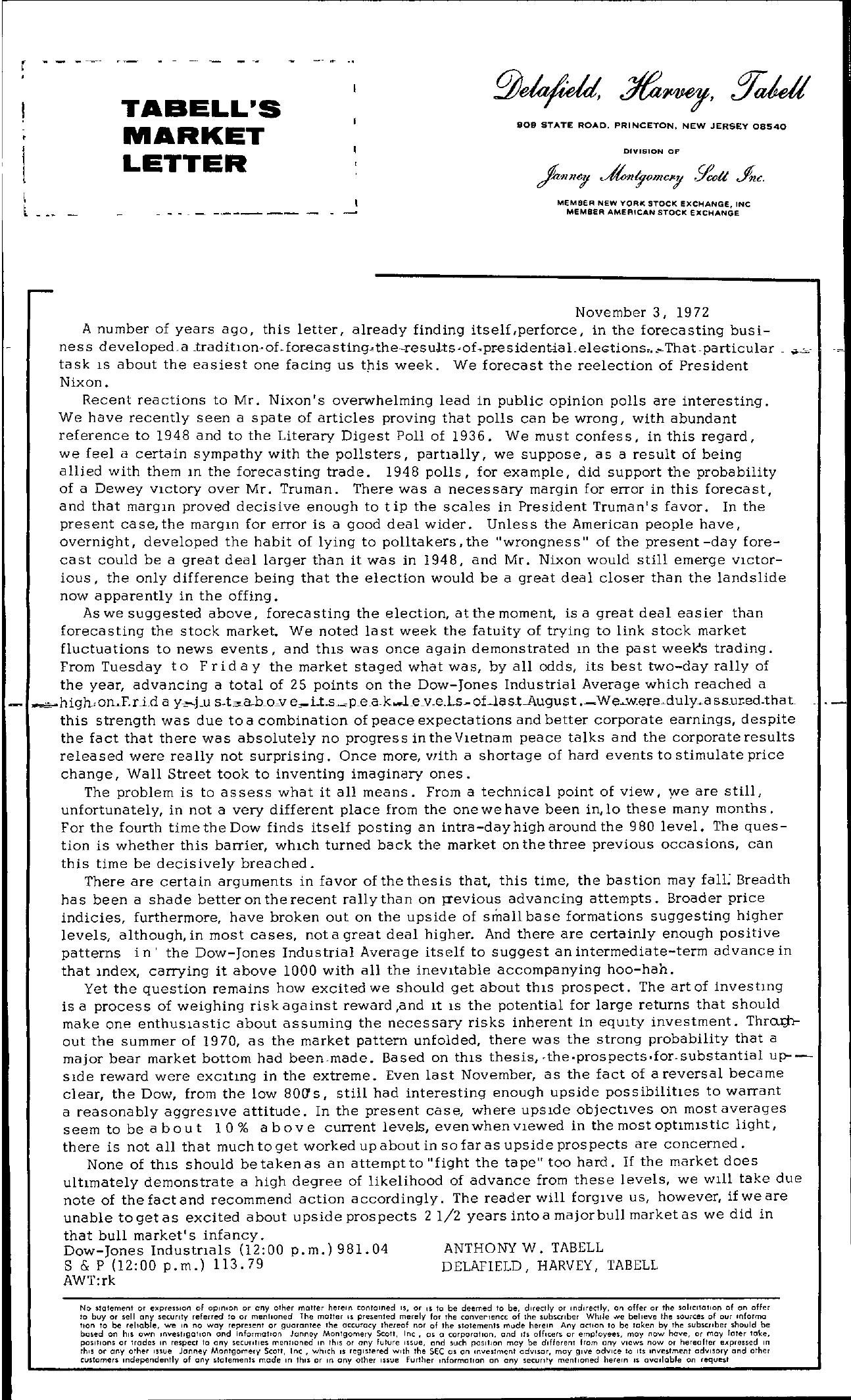 Tabell's Market Letter - November 03, 1972