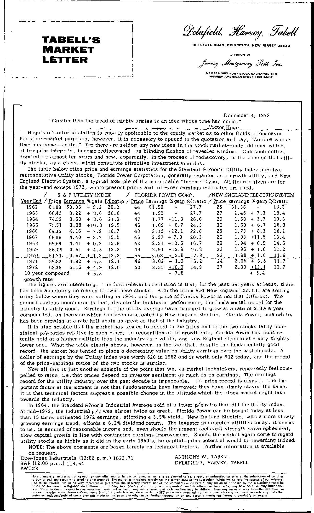 Tabell's Market Letter - December 08, 1972