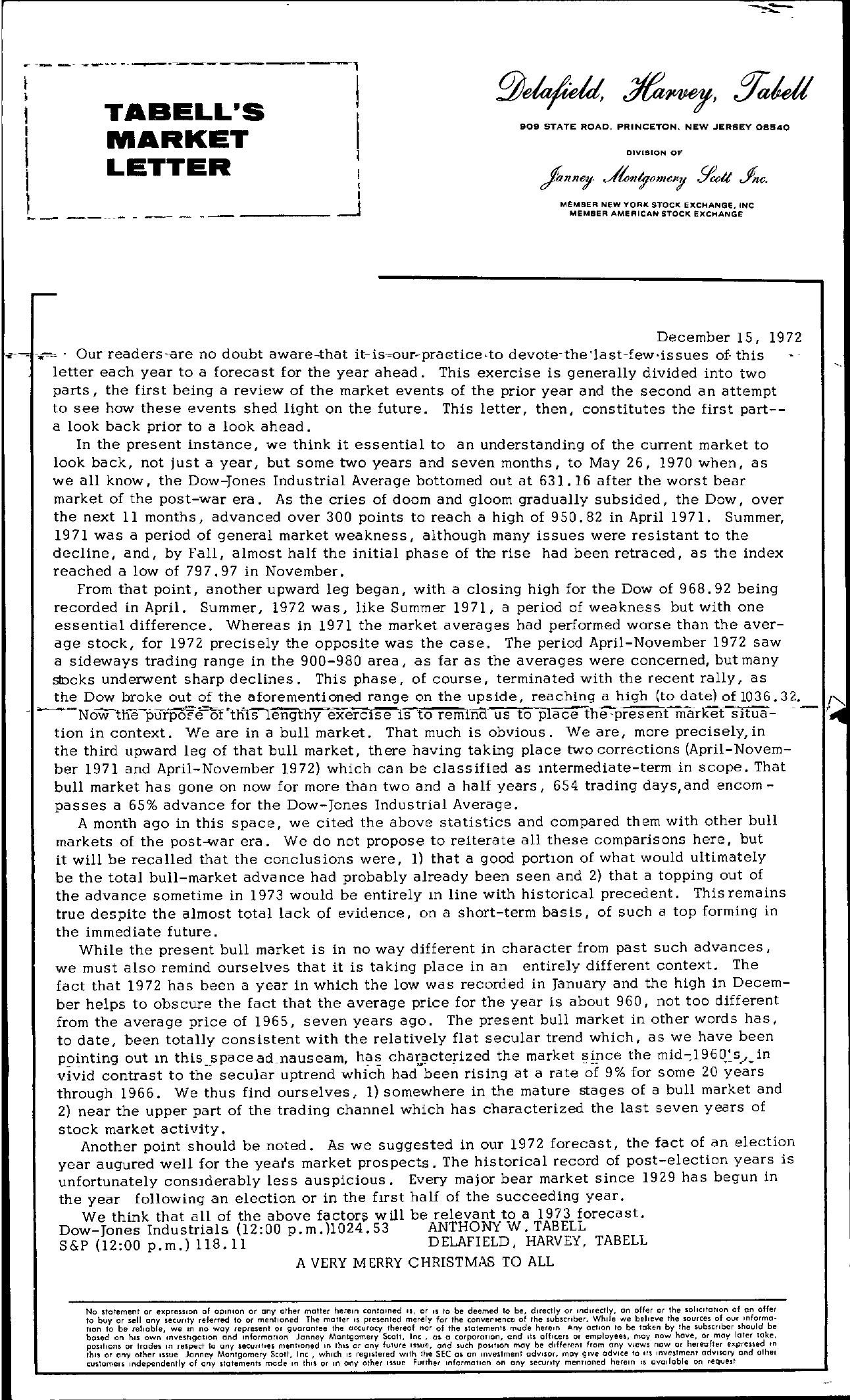 Tabell's Market Letter - December 15, 1972
