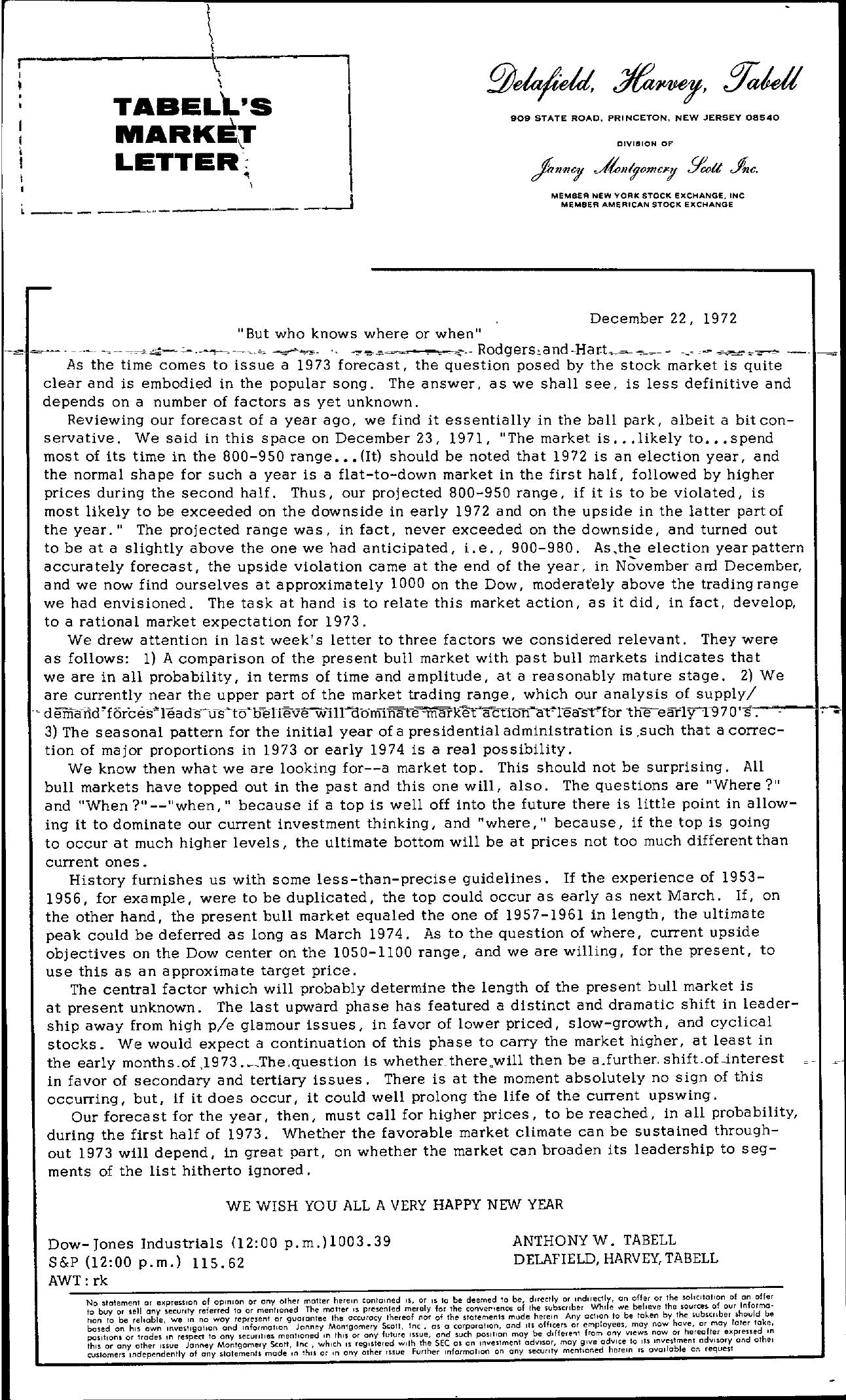 Tabell's Market Letter - December 22, 1972