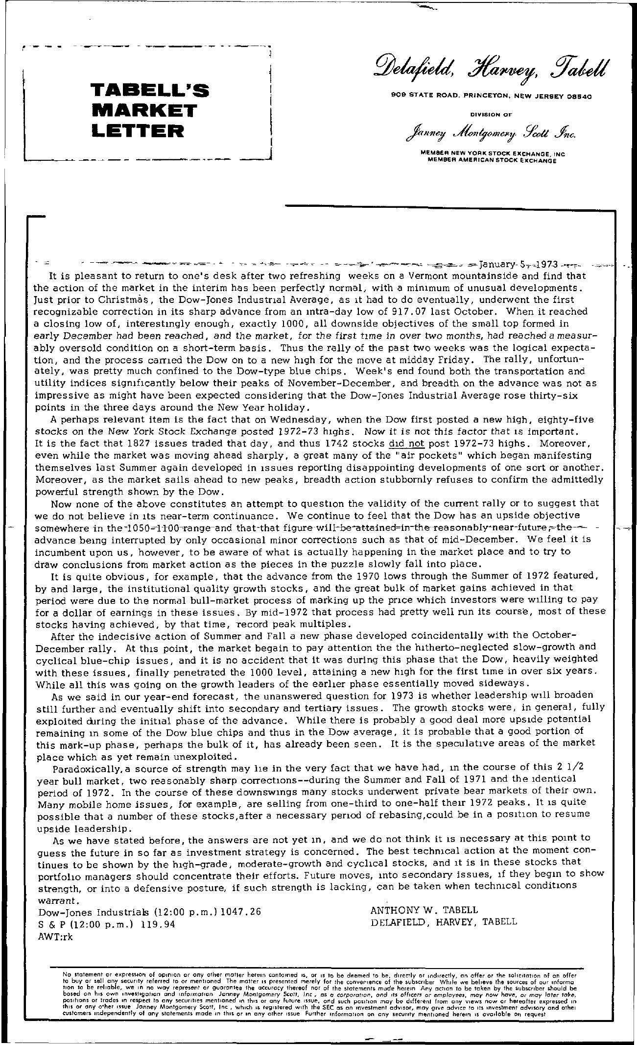 Tabell's Market Letter - January 05, 1973